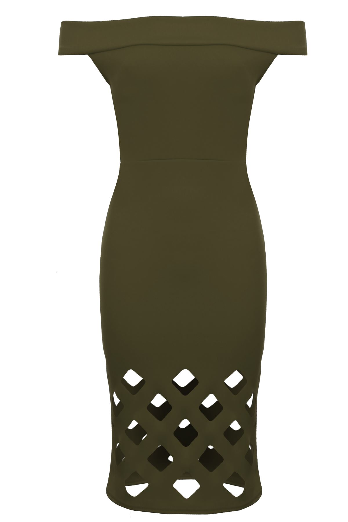 Womens Off Shoulder Bardot Bodycon Fitted Laser Cut Out Knee Length Dress 7532e148d
