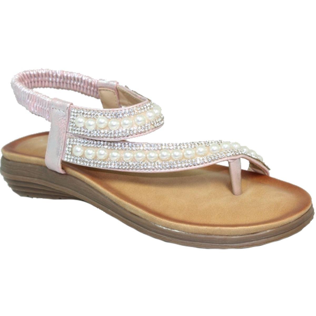 f58f3f7512f JLH075 Lunar Tulip Low Flat Heel Padded Insole Pearl Toe Post Thong Sandals