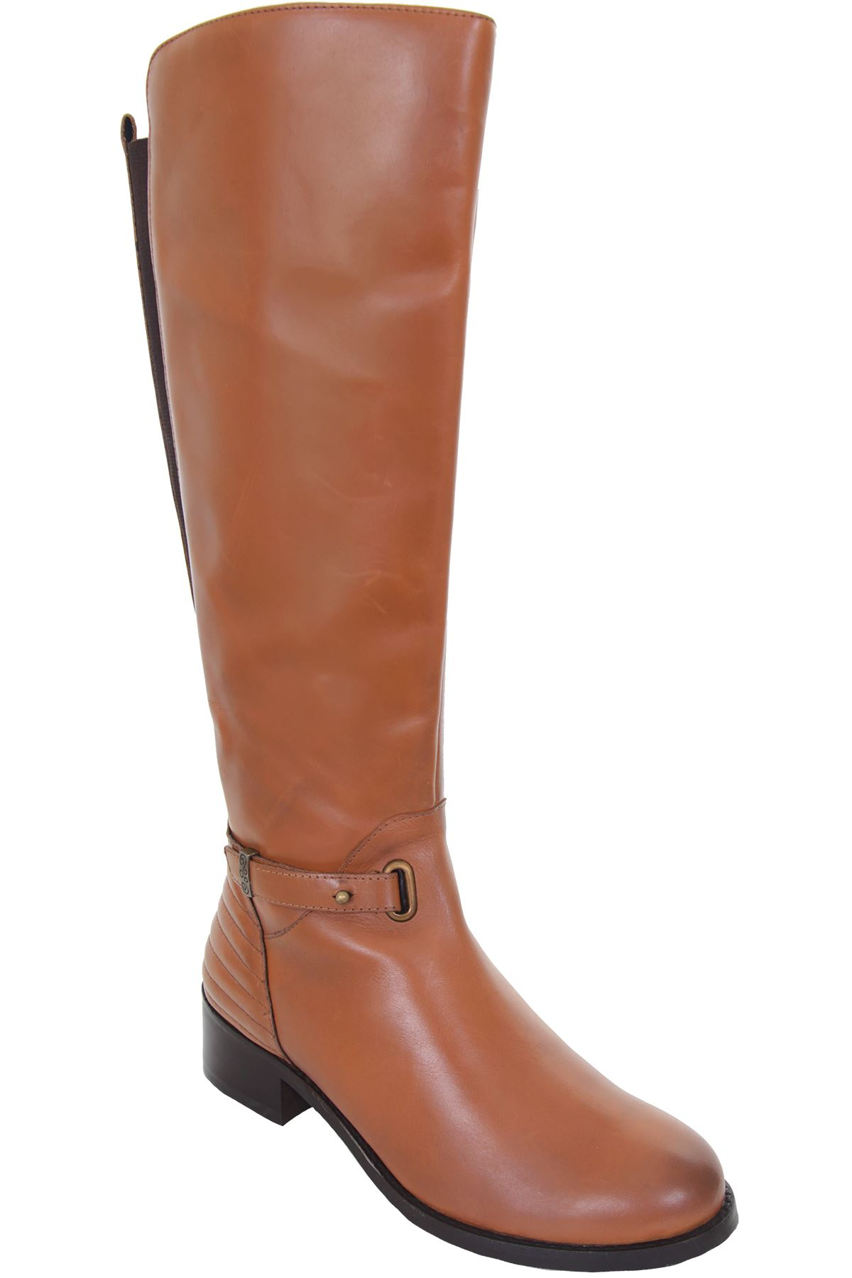GLH472 Renoir Calf Calf Calf High Zipper Side Elasticated Niedrig Heel Genuine Leder Stiefel 09cd14