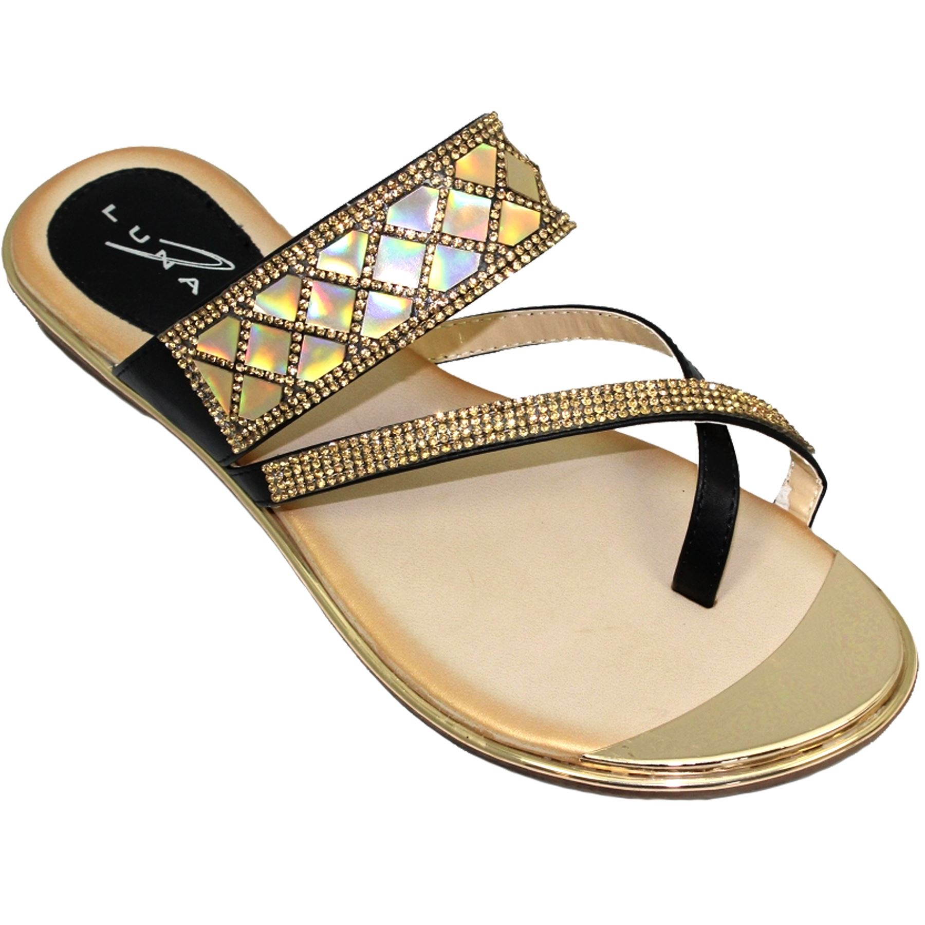 Jlh910 Aisha Faux Leather Gemstone Padded Insole Cross Strap Mule Tendencies Sandals Footbed 2 Brown 42