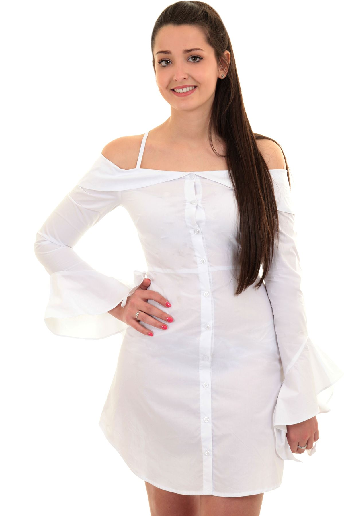 659c0d751bd97 Ladies Bardot Off Shoulder Ruffle Bell Sleeve Button Up Long Shirt Blouse  Dress