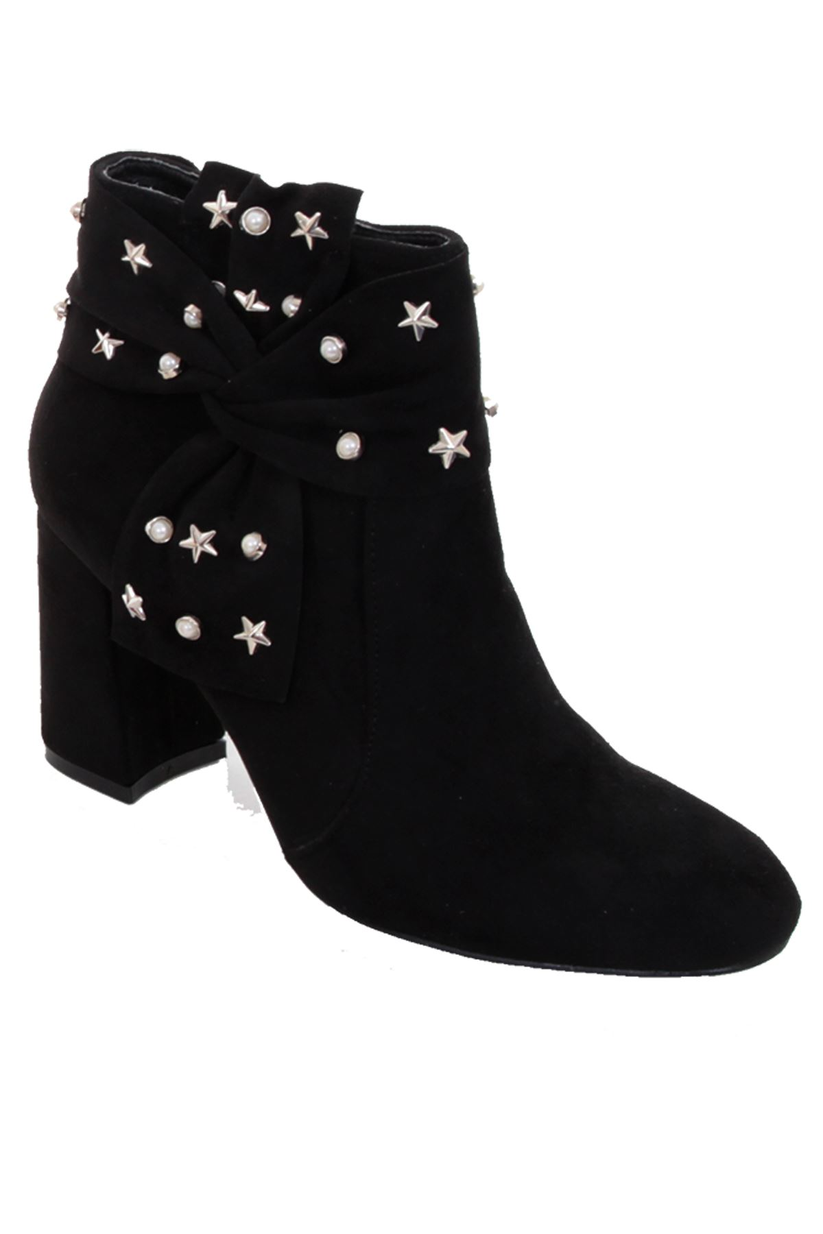 97be10a5b Ladies Chunky Block Heel Faux Suede Star Pearl Studded Zipper Ankle Boots