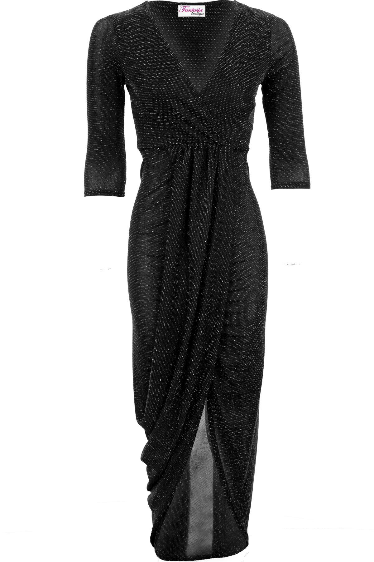 eb8b06da208 Ladies 3 4 Sleeve Sparkle Lurex Wrap V Neck Asymmetric Front Split Maxi  Dress