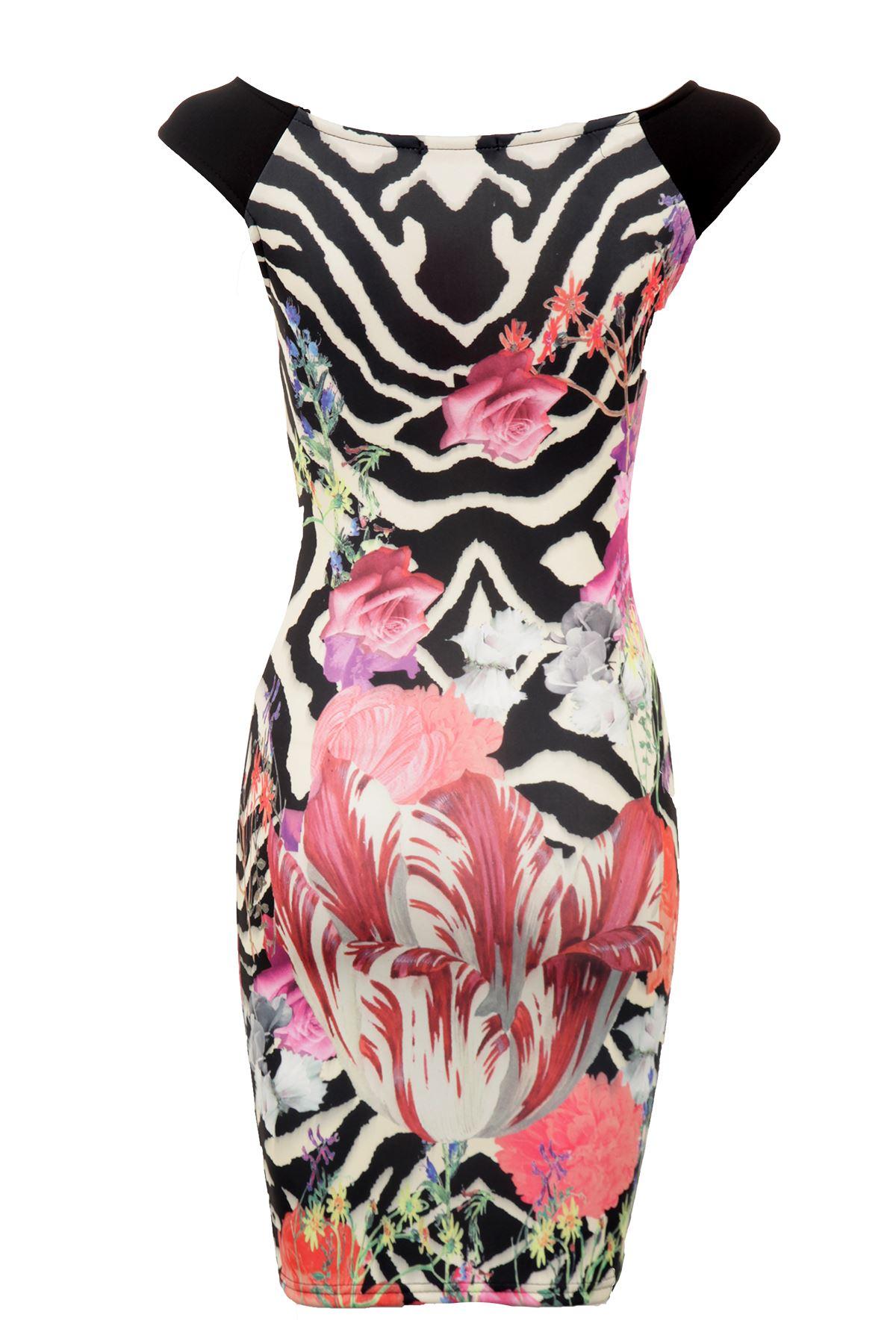 details zu damen creme schwarz rosen blumen tulpe bodycon stretch damen  kurz kleid 8-14