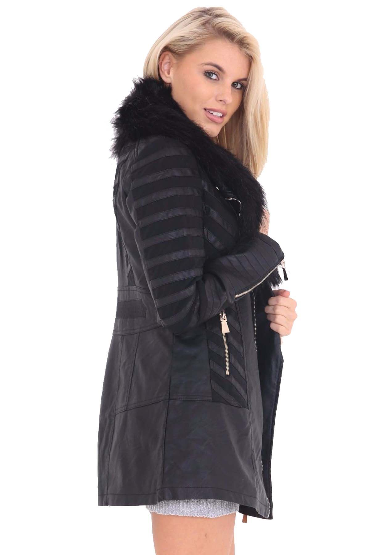 womens long stripe mesh insert pvc leather faux fur collar pu jacket coat ebay. Black Bedroom Furniture Sets. Home Design Ideas