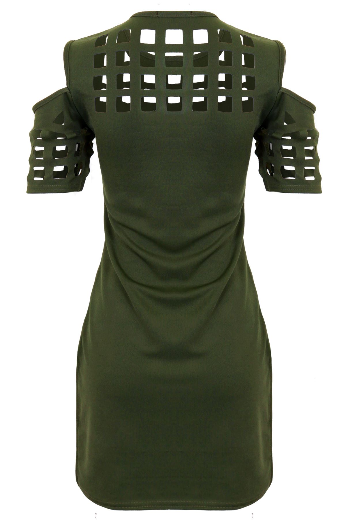 Womens Cold Shoulder High Low Caged Style Laser Cut Textured Mini Dress Tunic