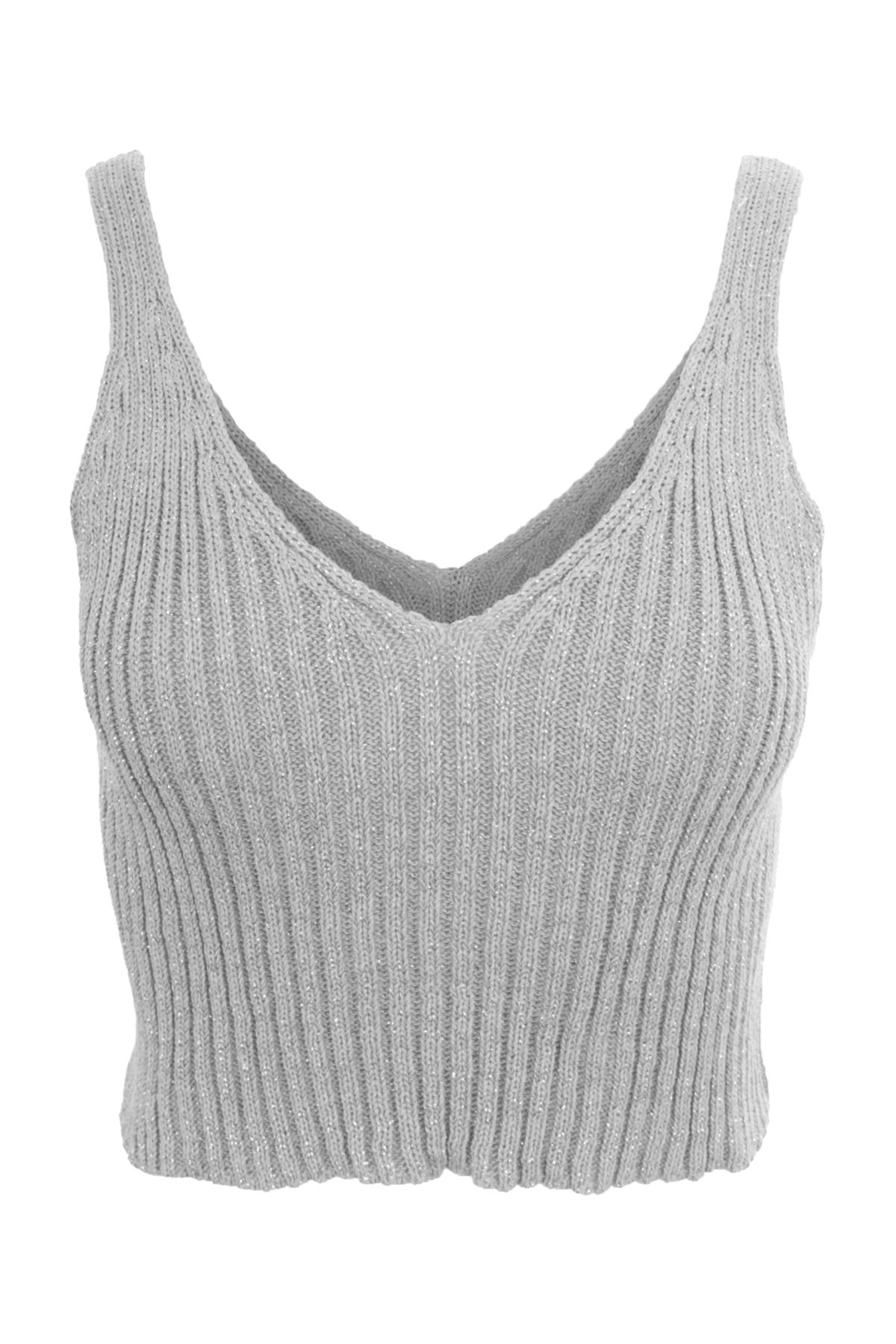 5958387c1143c Ladies Plunge V Neck Low Back Knitted Glitter Stretch Strappy Bralet Crop  Top
