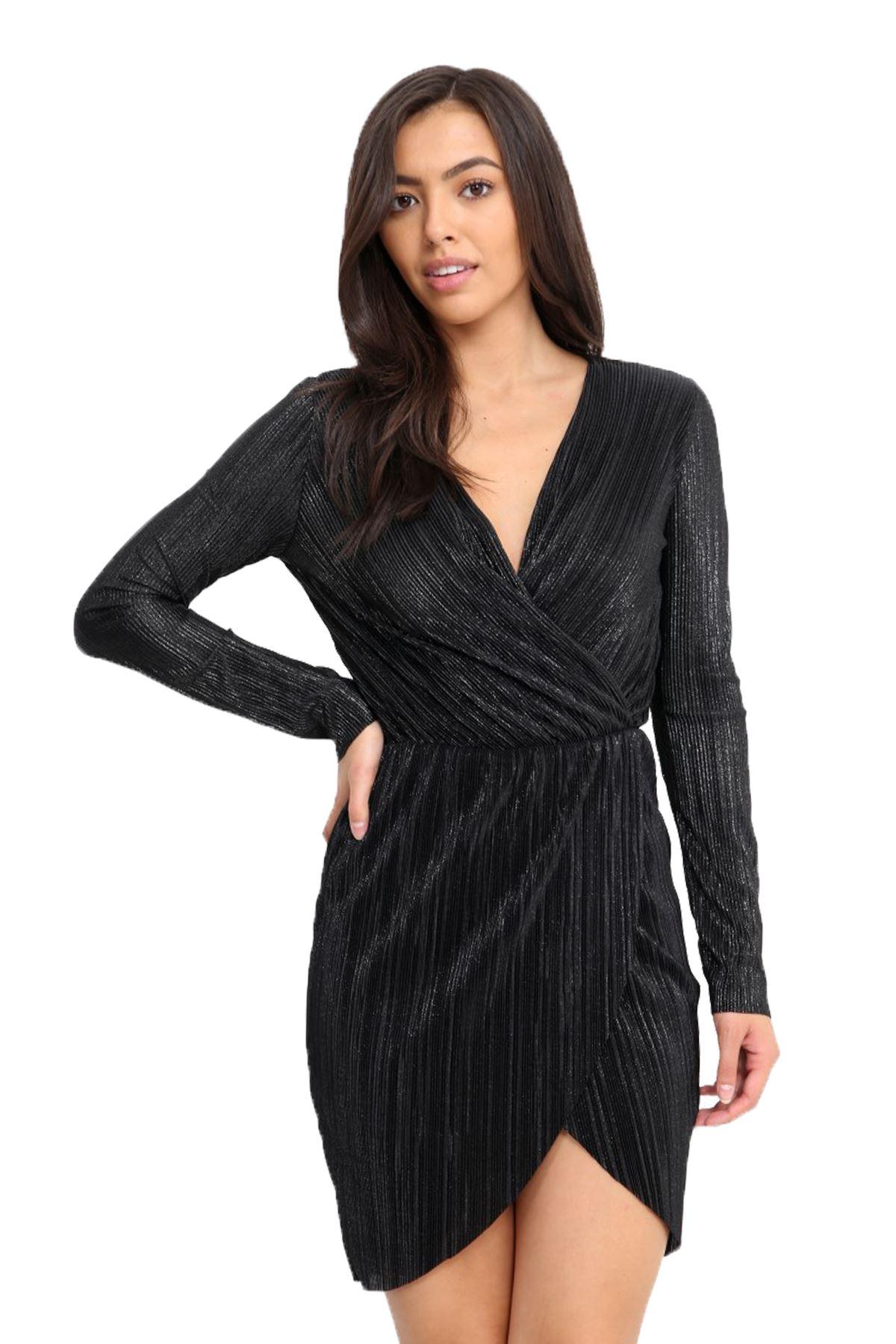426a82944085 Ladies Long Sleeve Crimp Metallic Look Wrap V Neck Plunge Bodycon Mini Dress