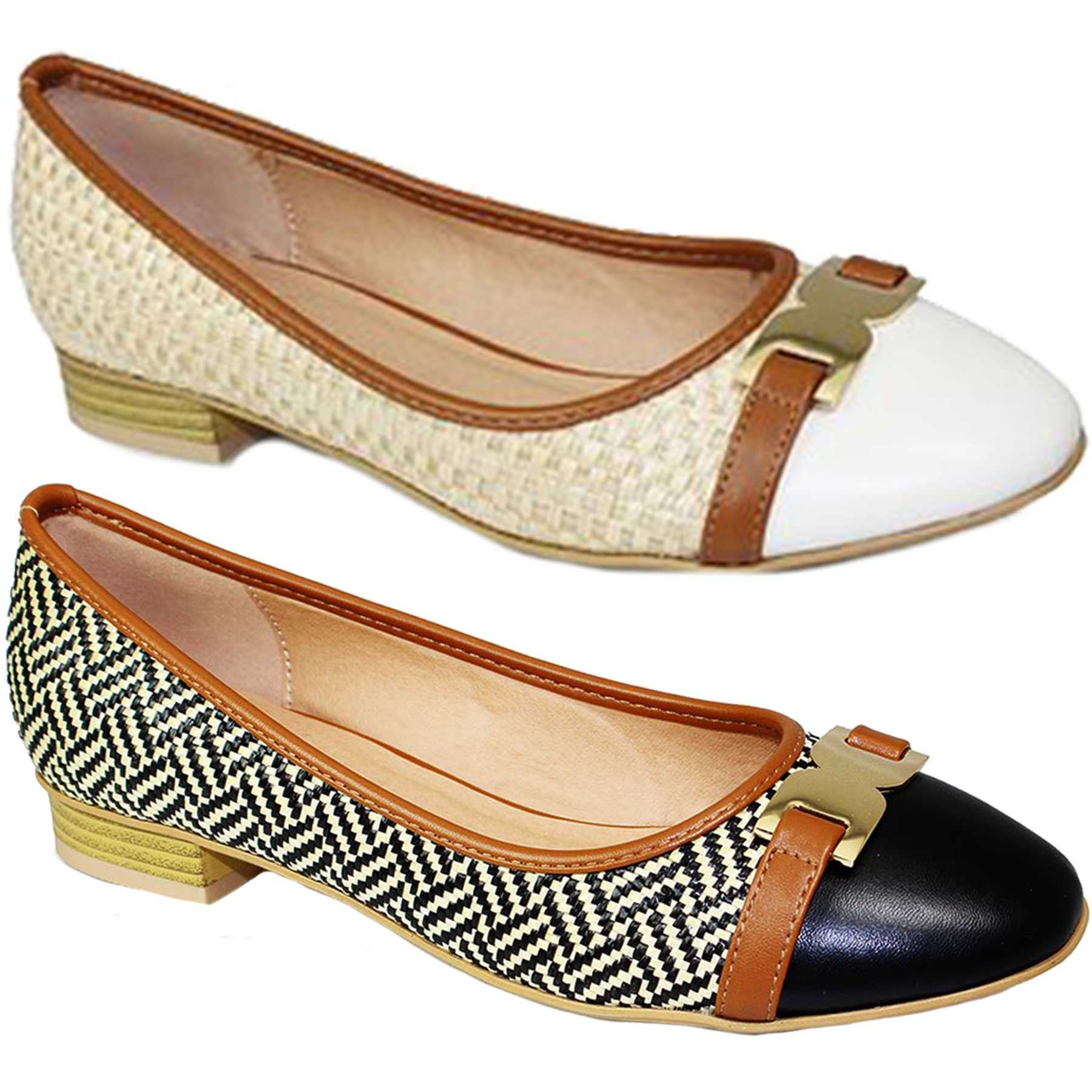 ada788b1765 Details about ladies interweave low heel slip on gold buckle two tone pumps  flats shoes jpg