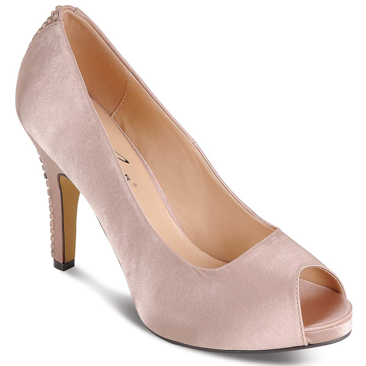 Ladies Smart PeepToe Diamantie Strip Satin Womens Heels Clutch Purse Bag