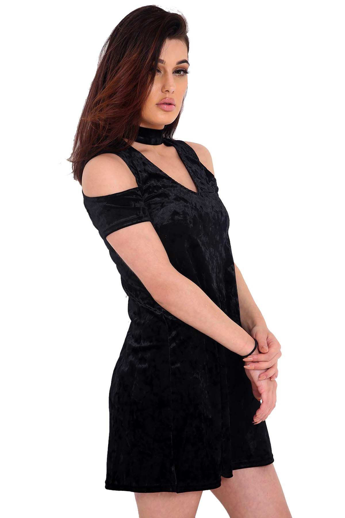 e74c97dd9 Las mujeres hombro frío manga corta gargantilla V cuello llamarada aplastó  Vestido de terciopelo