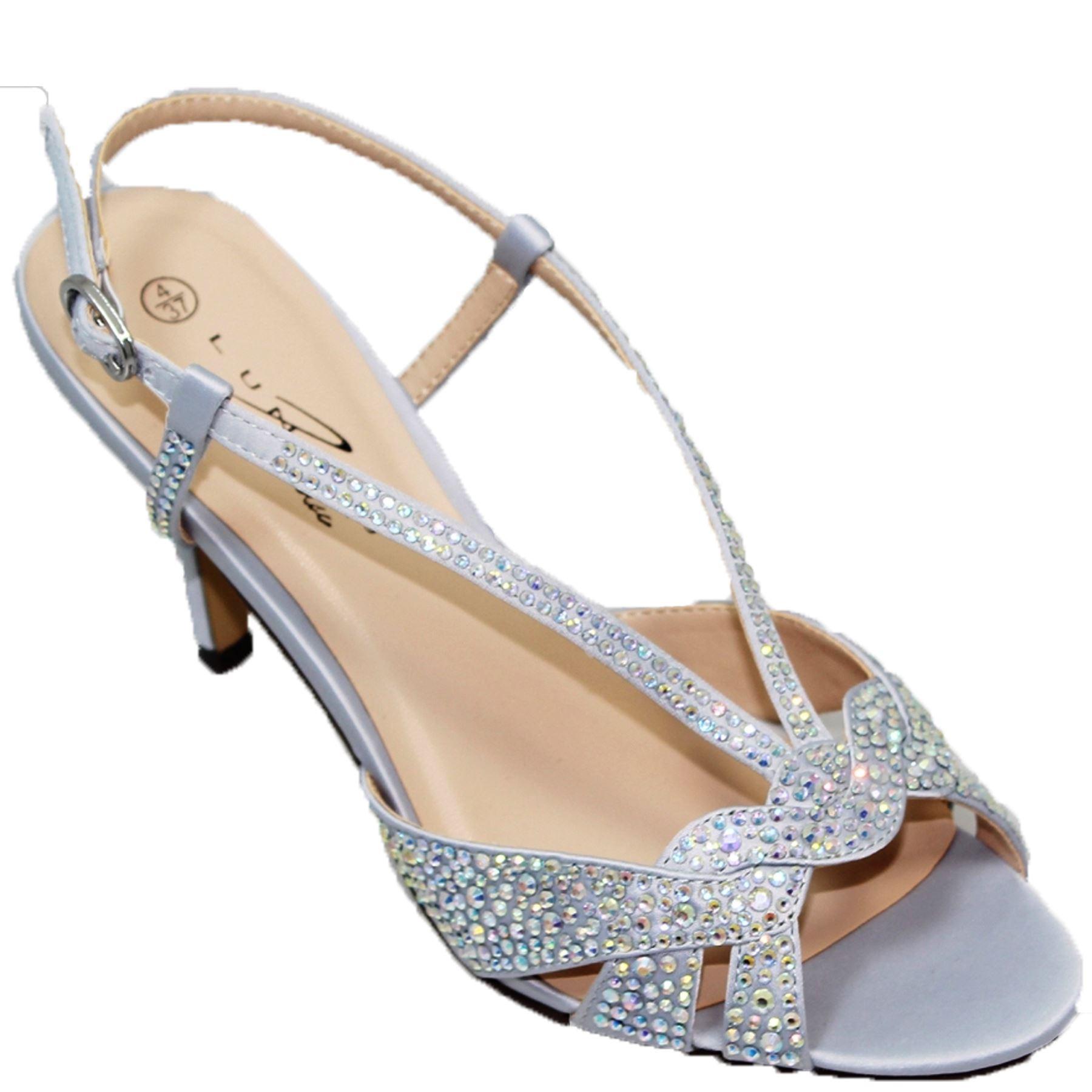 FLR492 Strap Robin Satin Gemstone Ankle Buckle Strap FLR492 Padded Insole Clutch Heels bf6753