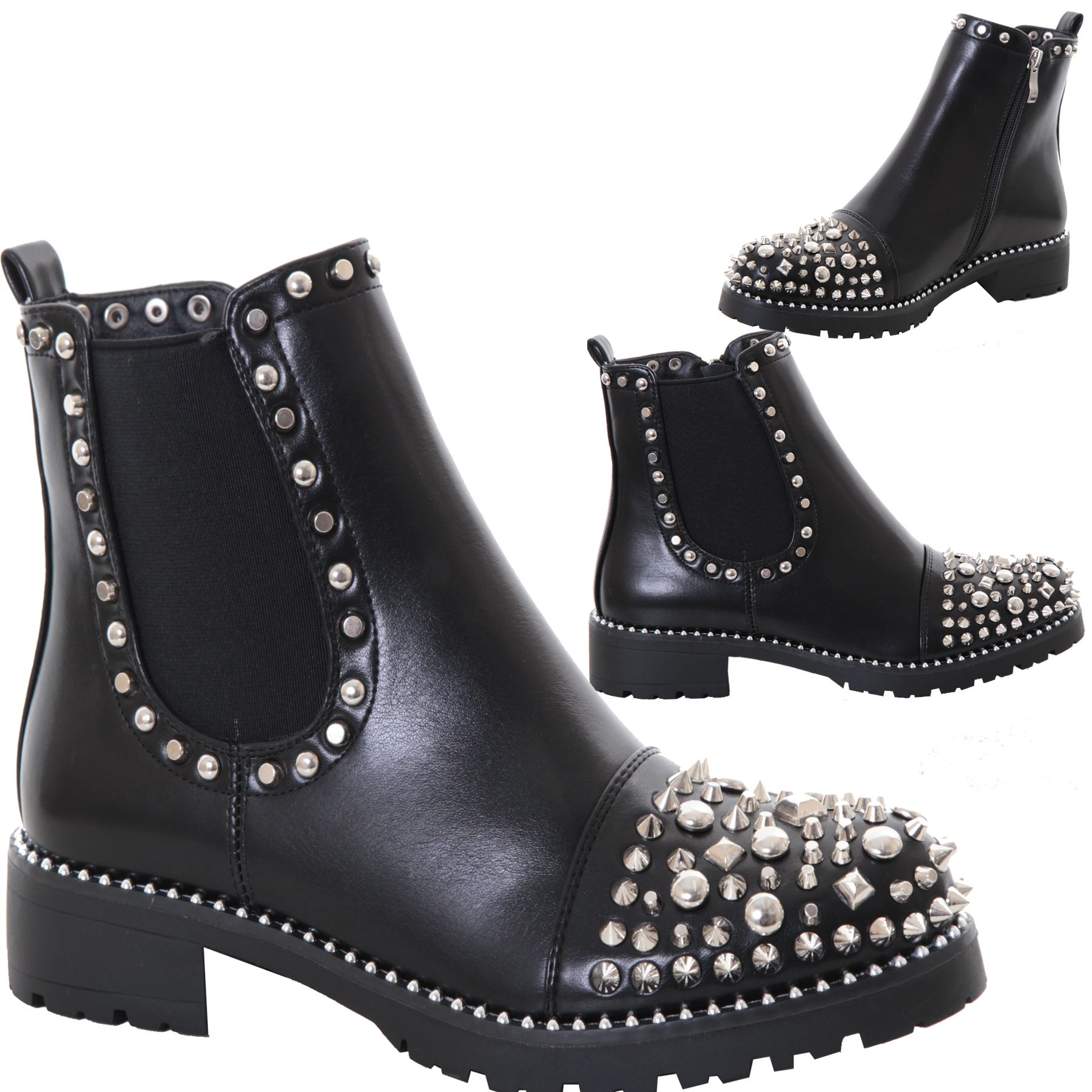 8e7fd0254fa Details about Ladies Goth Zip Studded Chelsea Gusset Punk Chunky Heel Ankle  Boots Shoes