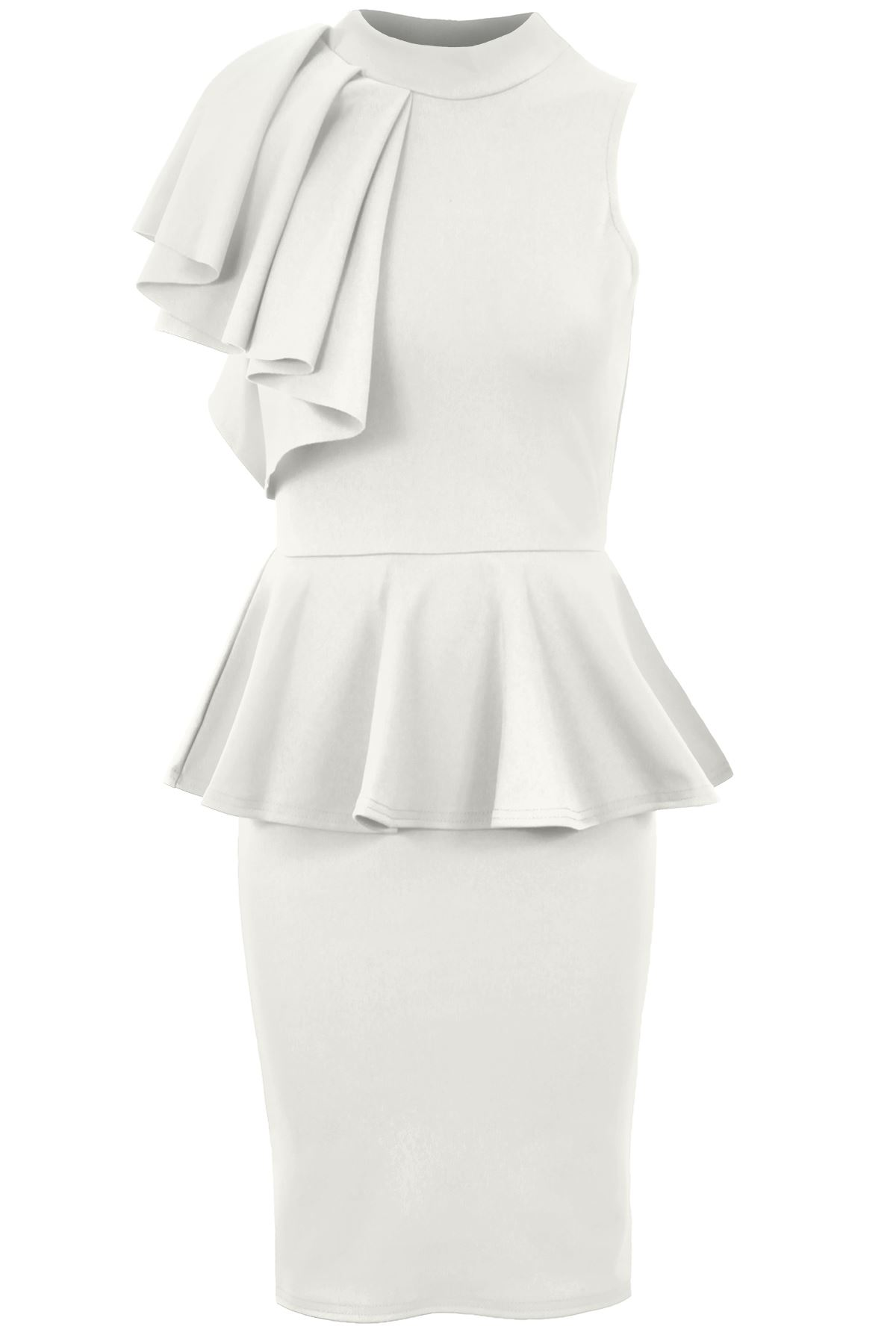 Ladies Sleeveless Ruffle Frill Shoulder Women\'s Peplum Bodycon ...