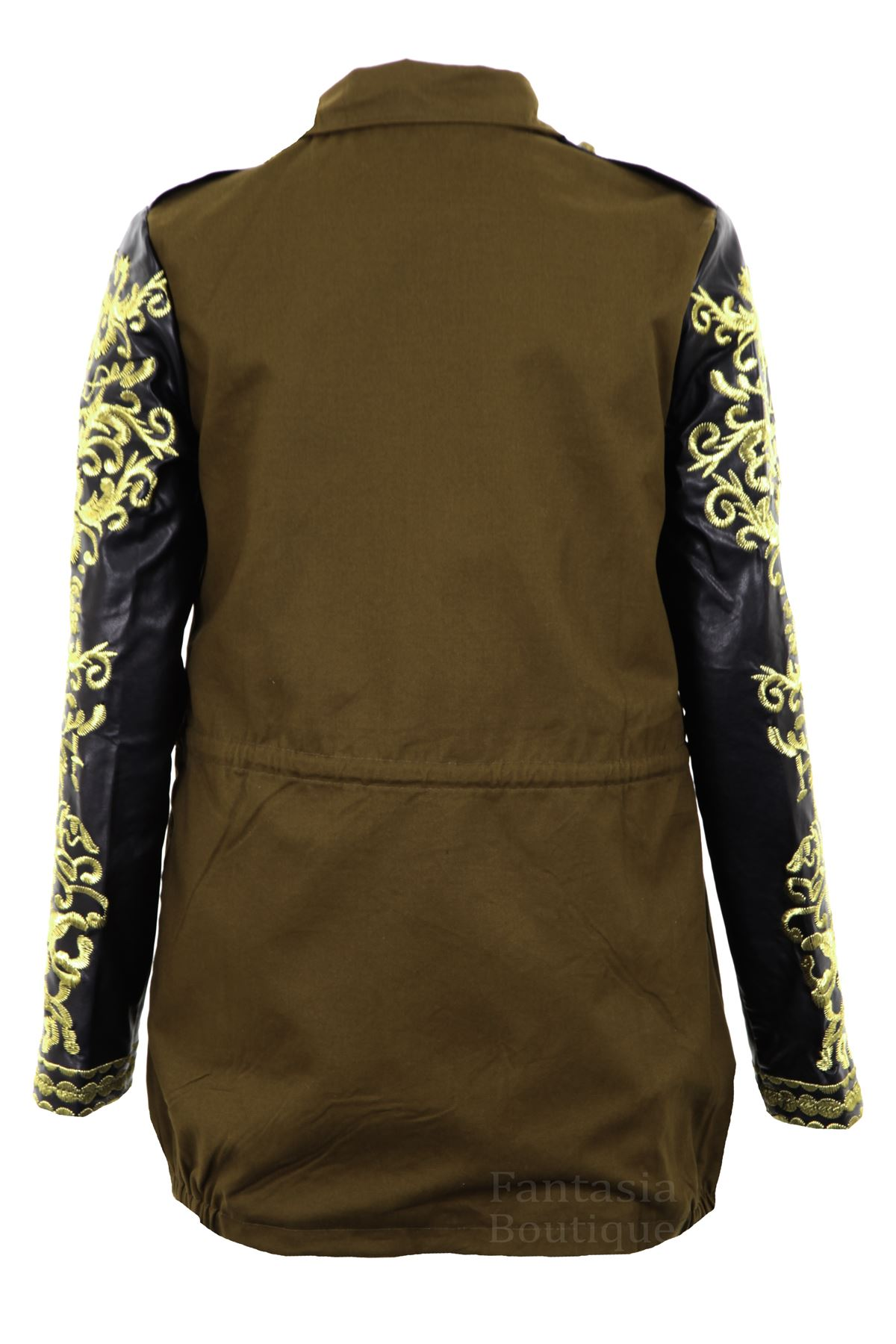 Women's Ladies Coat Gold Embroidered Sleeve Khaki Pvc Long HYHfq