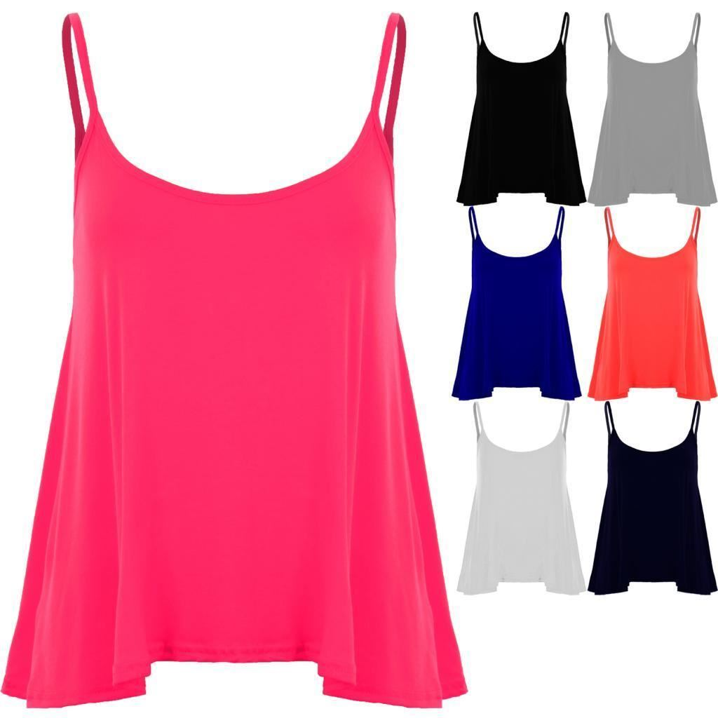 New Womens High Neck Plain Cami Vest Top Ladies Sleeveless Flared Swing Tank Top