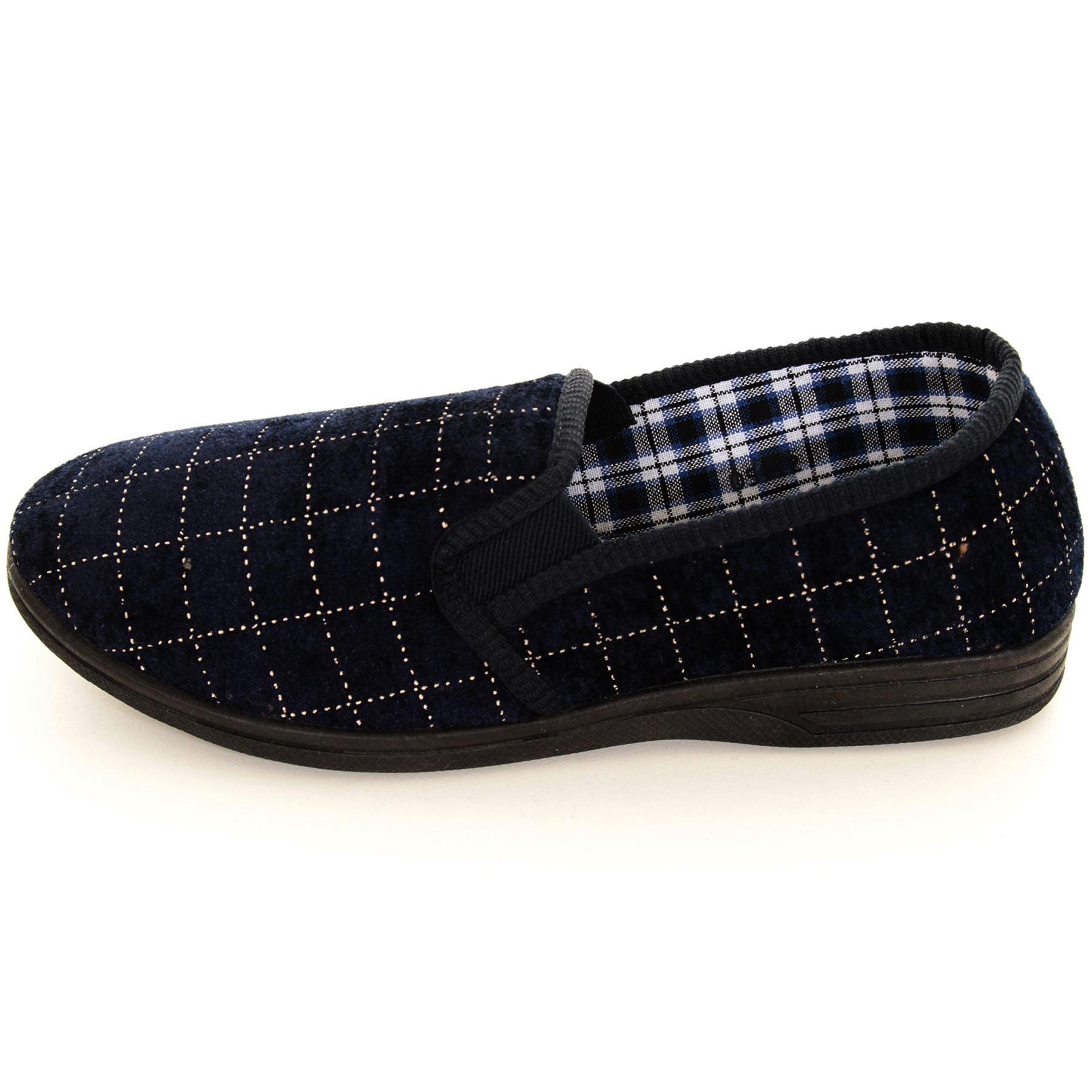 Para Hombre Chicos cuadros Velvet Terciopelo Slip On cálida casa zapatos de lujo Zapatillas