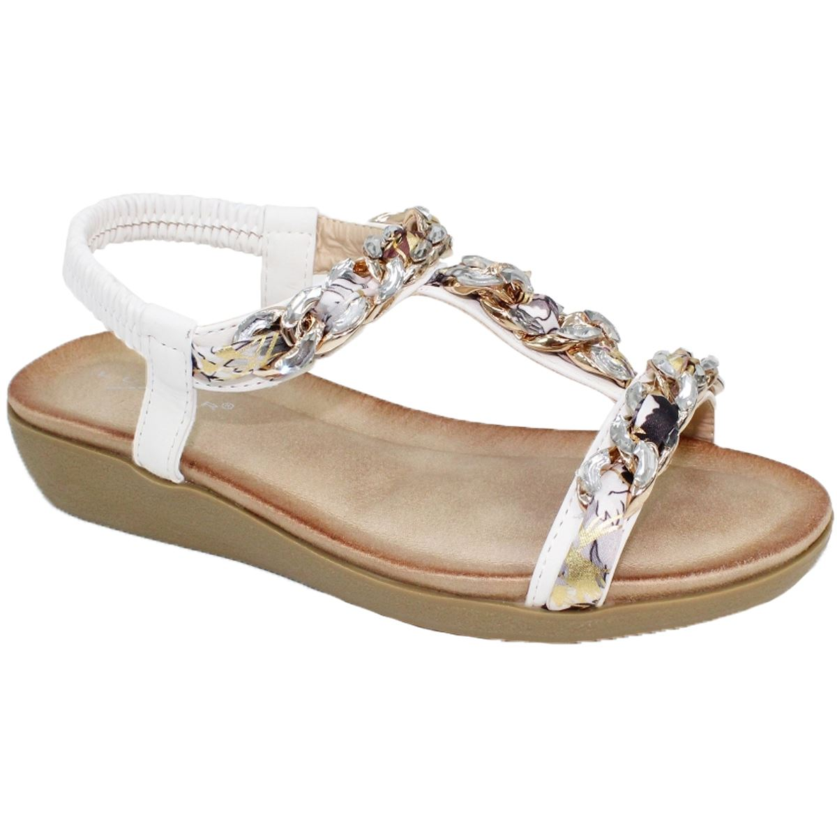 Details about Lunar Cedar Faux Leather Elasticated Ankle Strap Padded 'T' Bar Chain Sandals