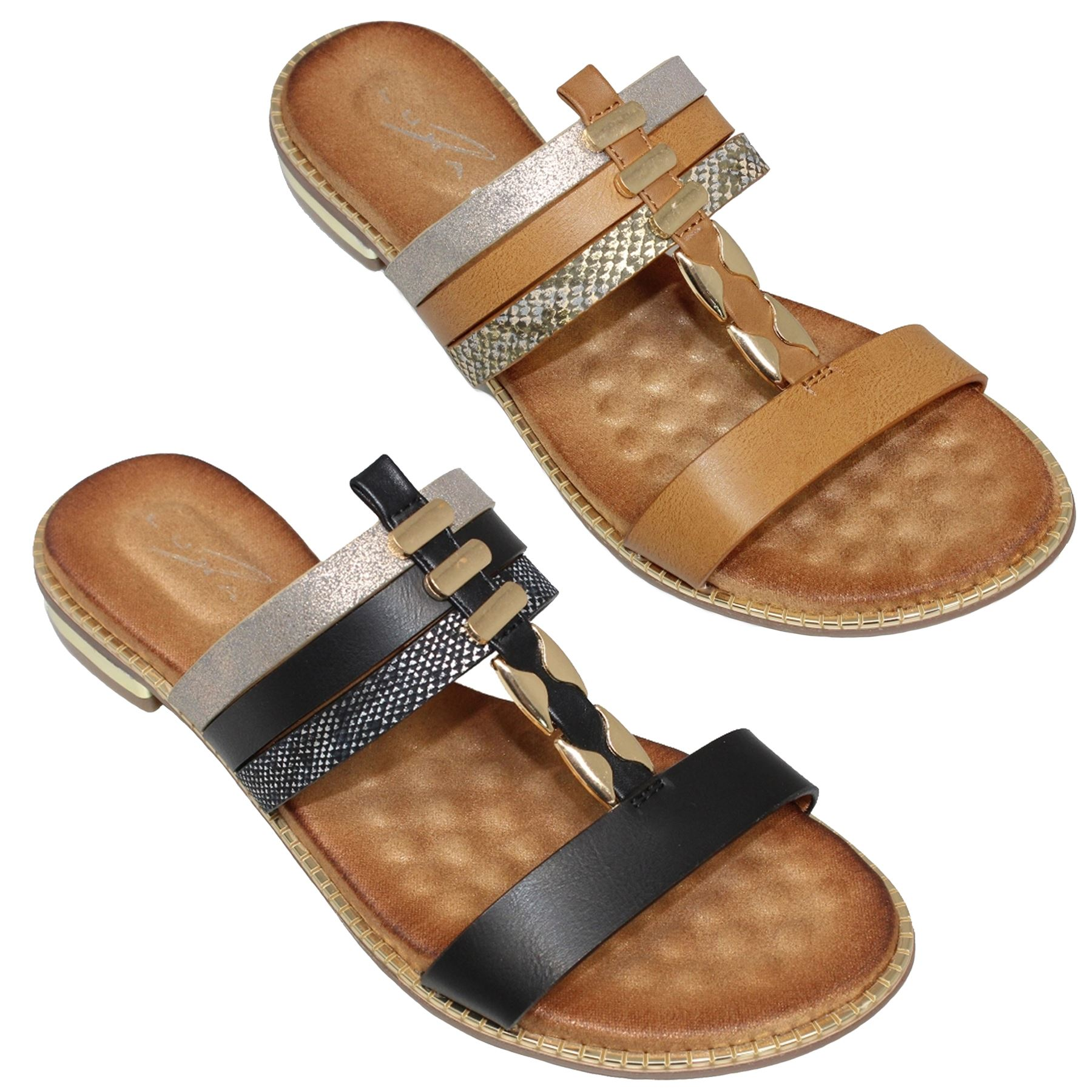 Jlh905 Bellini Flat Strap Cushion Insole Synthetic Leather Mule Tendencies Sandals Footbed 2 Brown 40 Style
