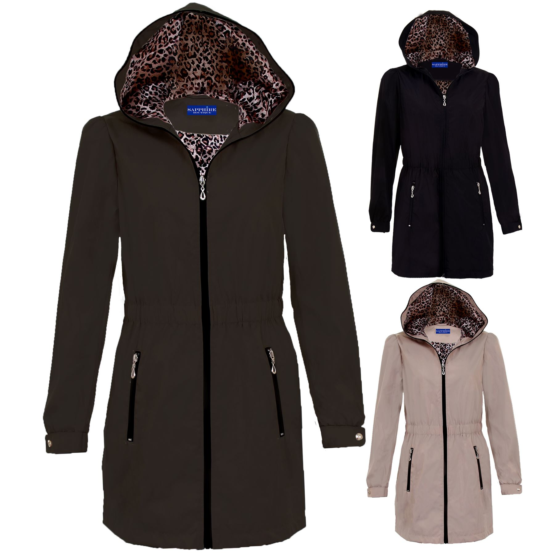 Ladies Hooded Shower Proof Lined Women/'s Casual Lightweight Raincoat Jacket