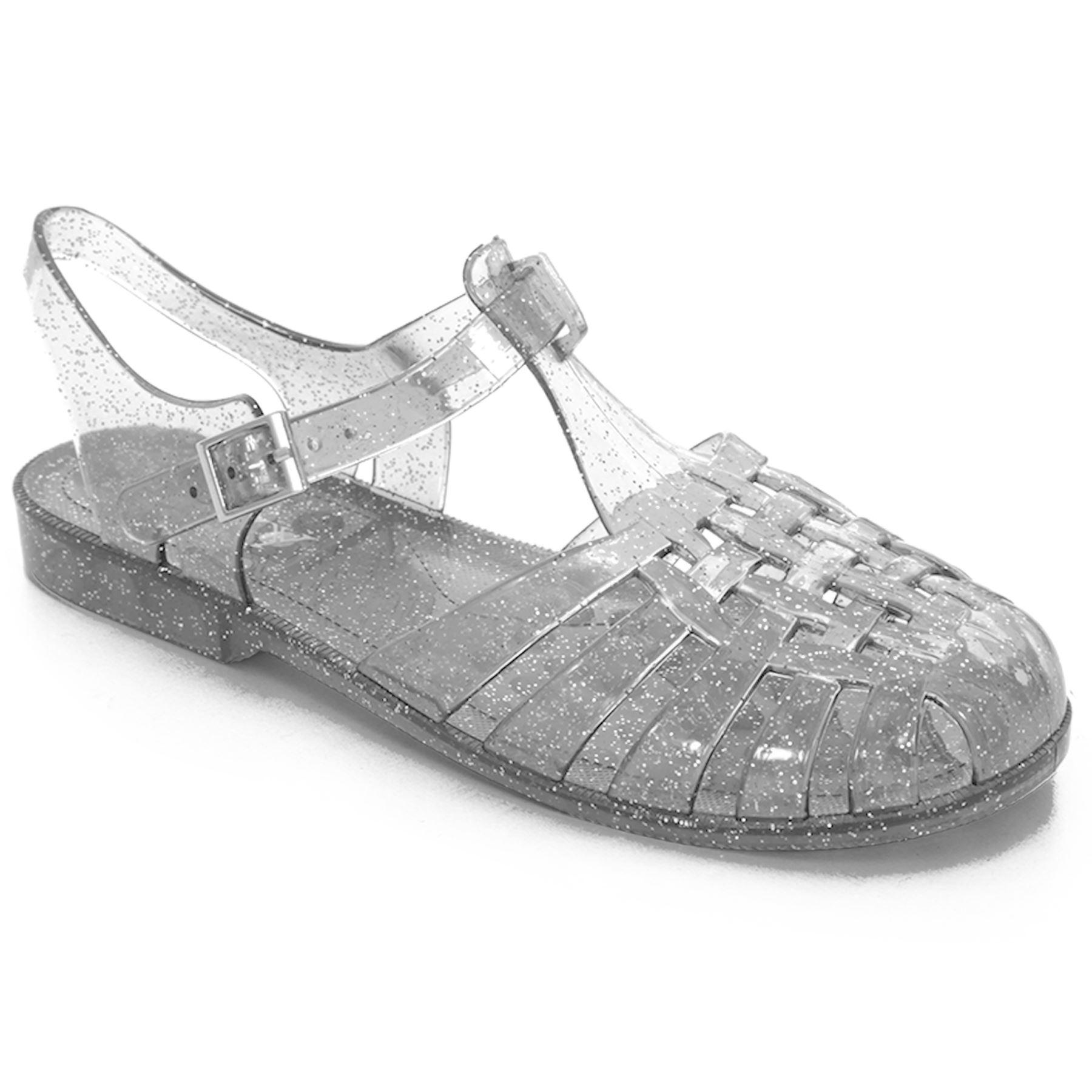 538de721c35a96 Womens Summer Flat Block Heel Plain Glitter Flip Flop Sandals Jelly Shoes