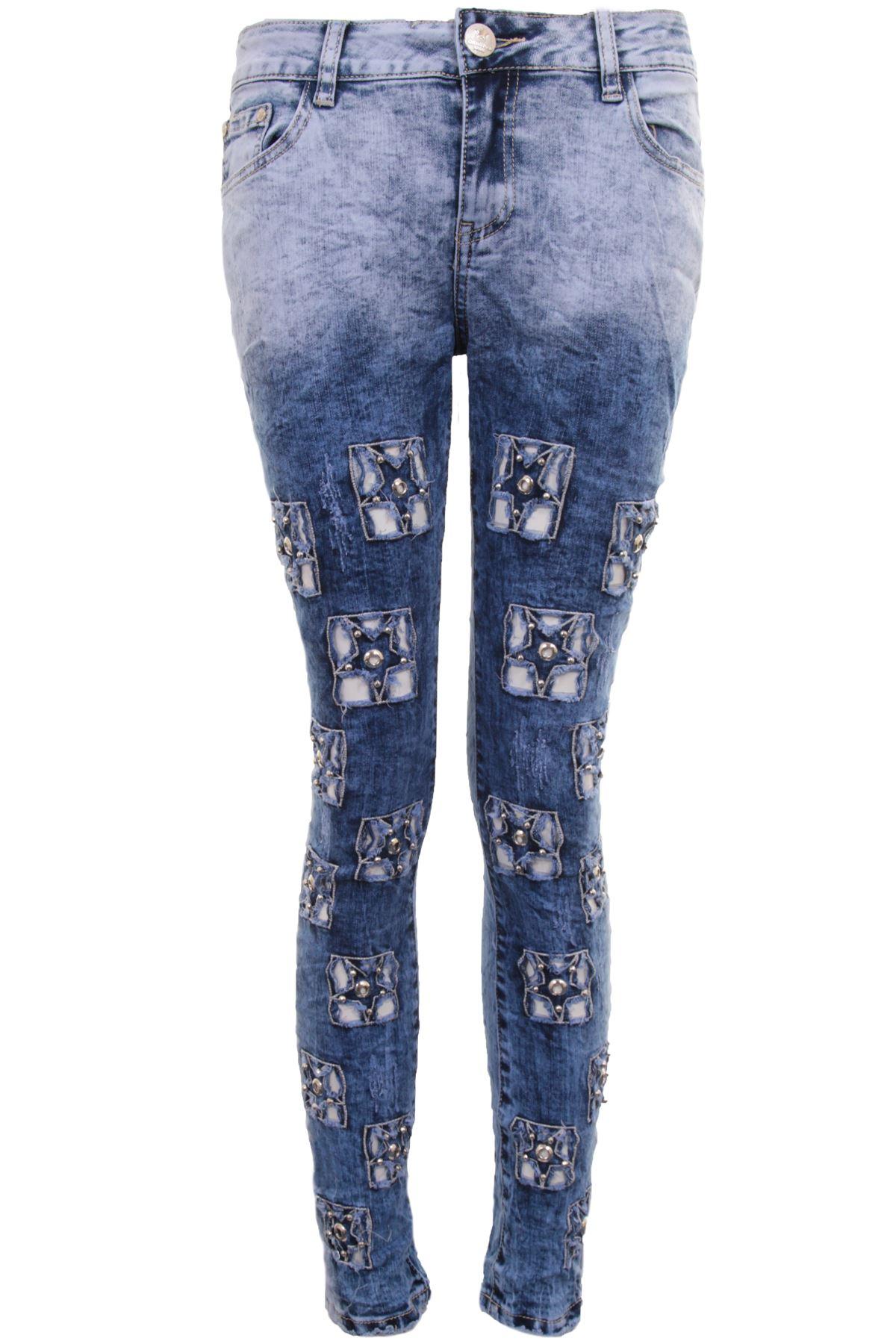 3cbc7730a8a Womens Light Denim Acid Wash Distressed Ripped Jewell Stat Skinny Fit Jeans