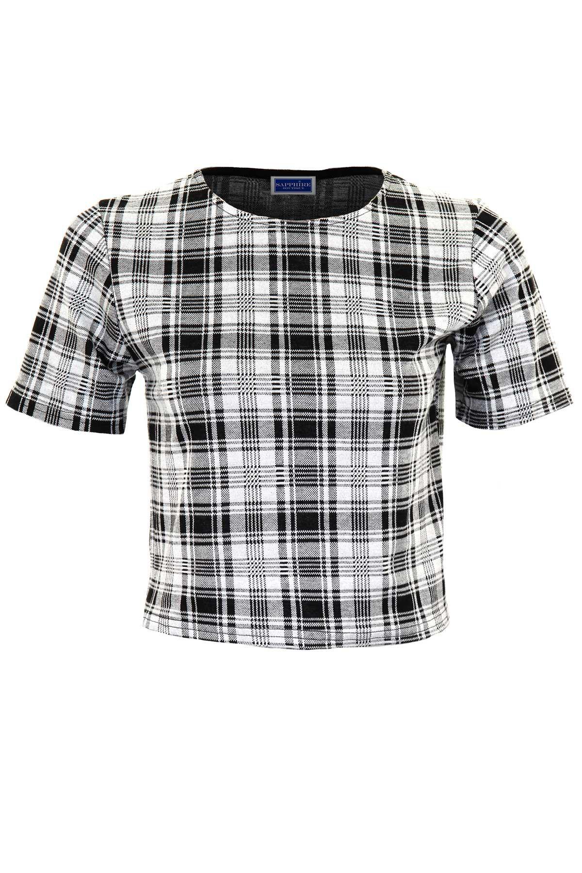 Des-femmes-a-manches-courtes-crop-top-checkered-print-Smart-mesdames-jupe-longueur-genou