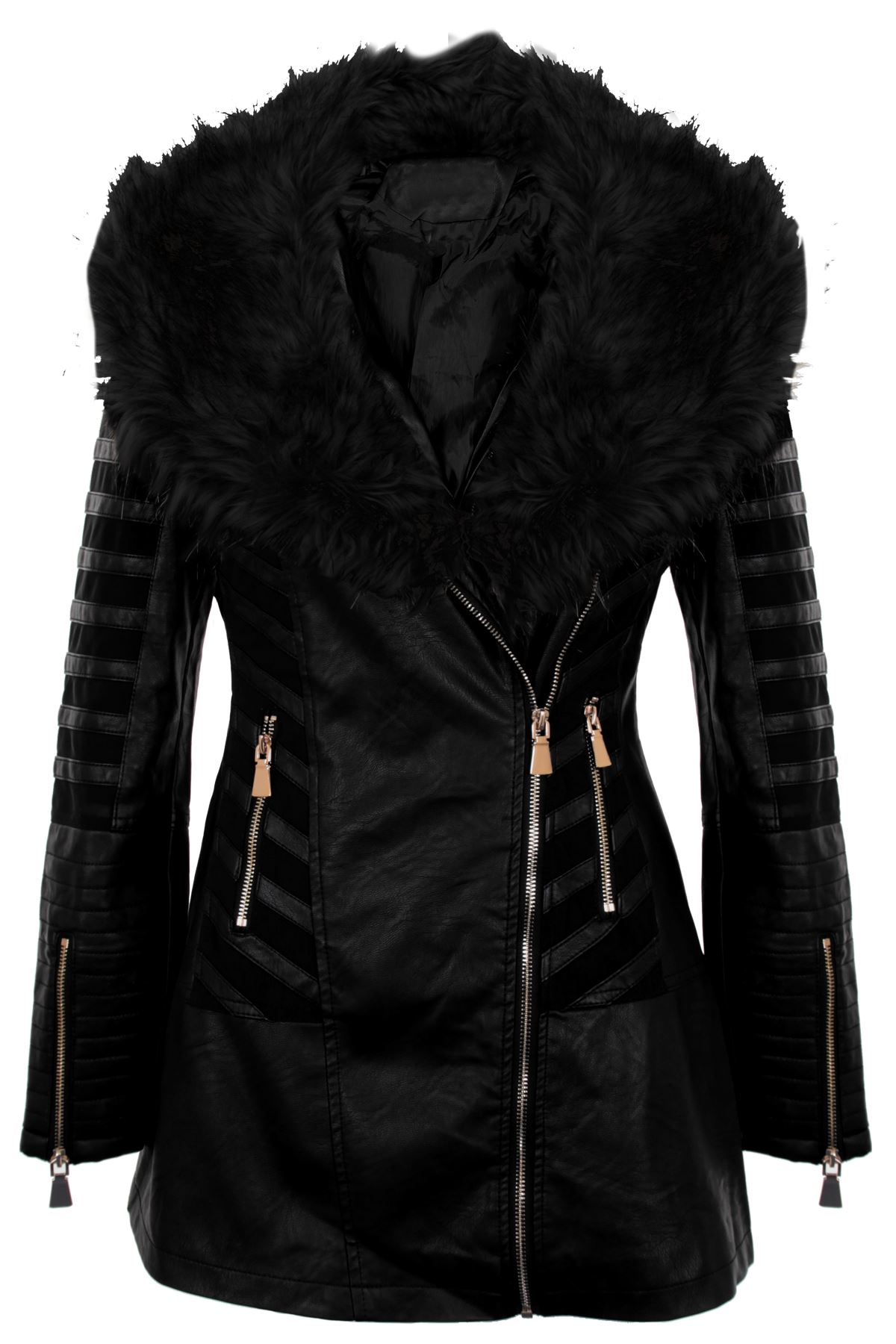 Ladies Faux Pvc Leather Fur Collar Mesh Insert Long Pu Zipper Coat