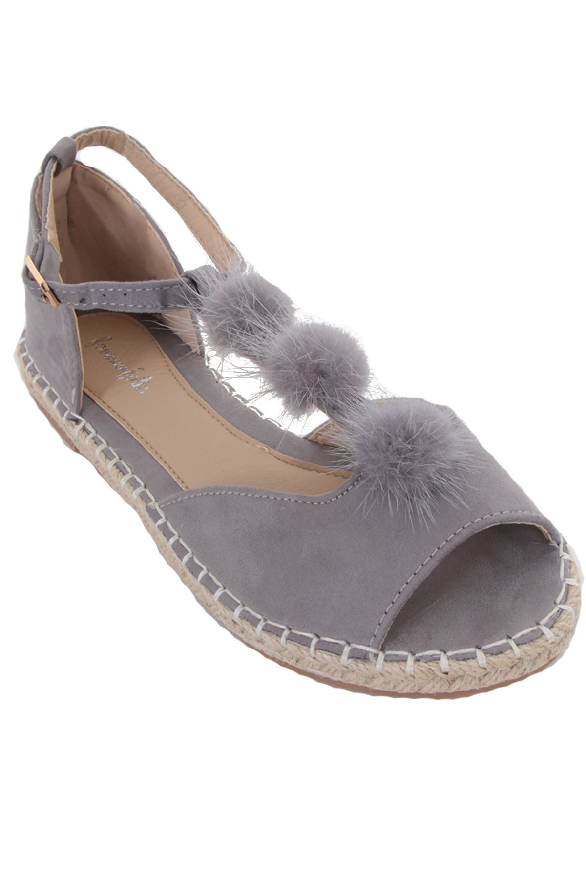 Ladies Lightweight Open Espadrille Suede Toe Flat Pom Fluffy oerdCBQxW
