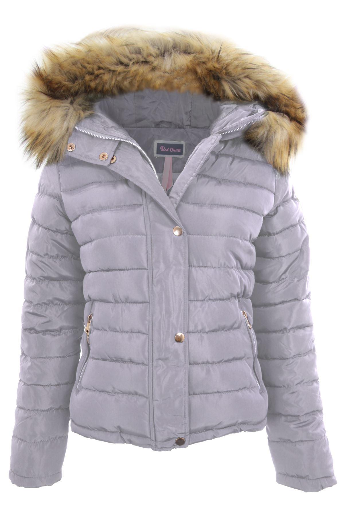 Ladies Detachable Fur Lined Hood Padded Puffer Jacket