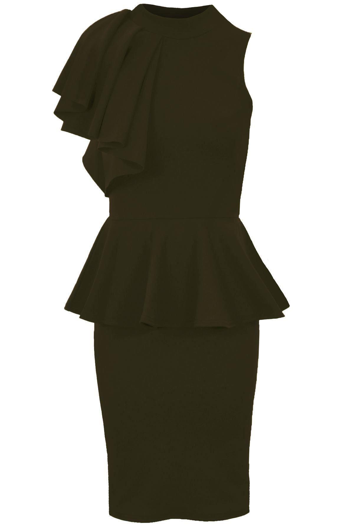 Women Ladies Sleeveless Frill Ruffle Shoulder Turtle Neck Party Peplum Dress