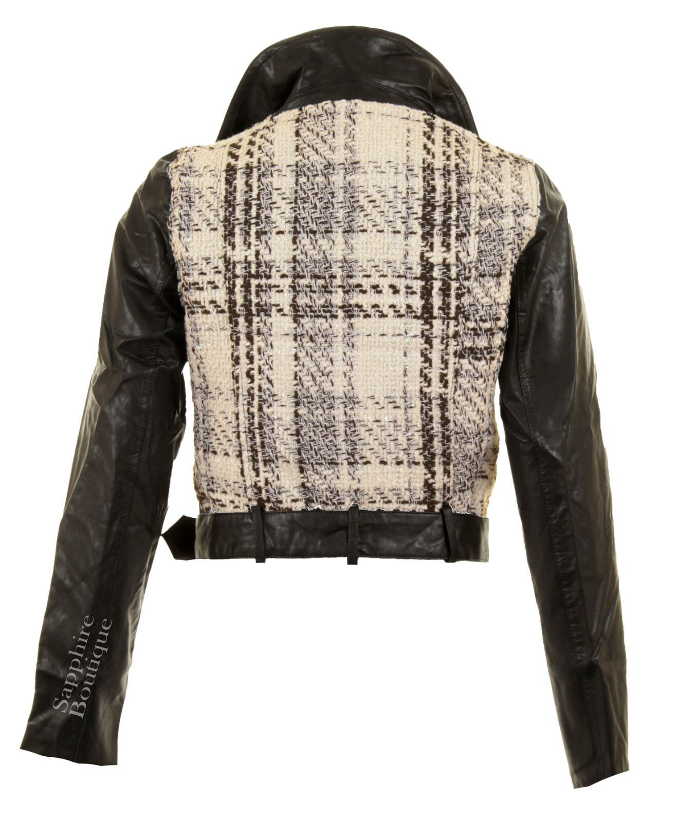 Women/'t Black White Knitted PU Leather Belted Biker PVC Ladies Jacket