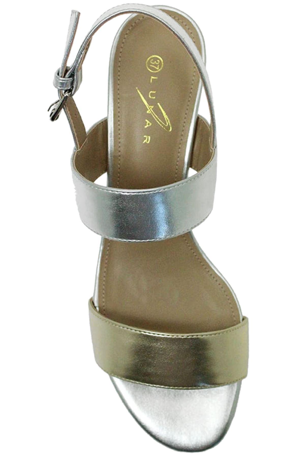 Jle064 Riemchen Collins Damen Blockabsatz gepolstert Riemchen Jle064 Mode metallisch Sandalen 1b1f91