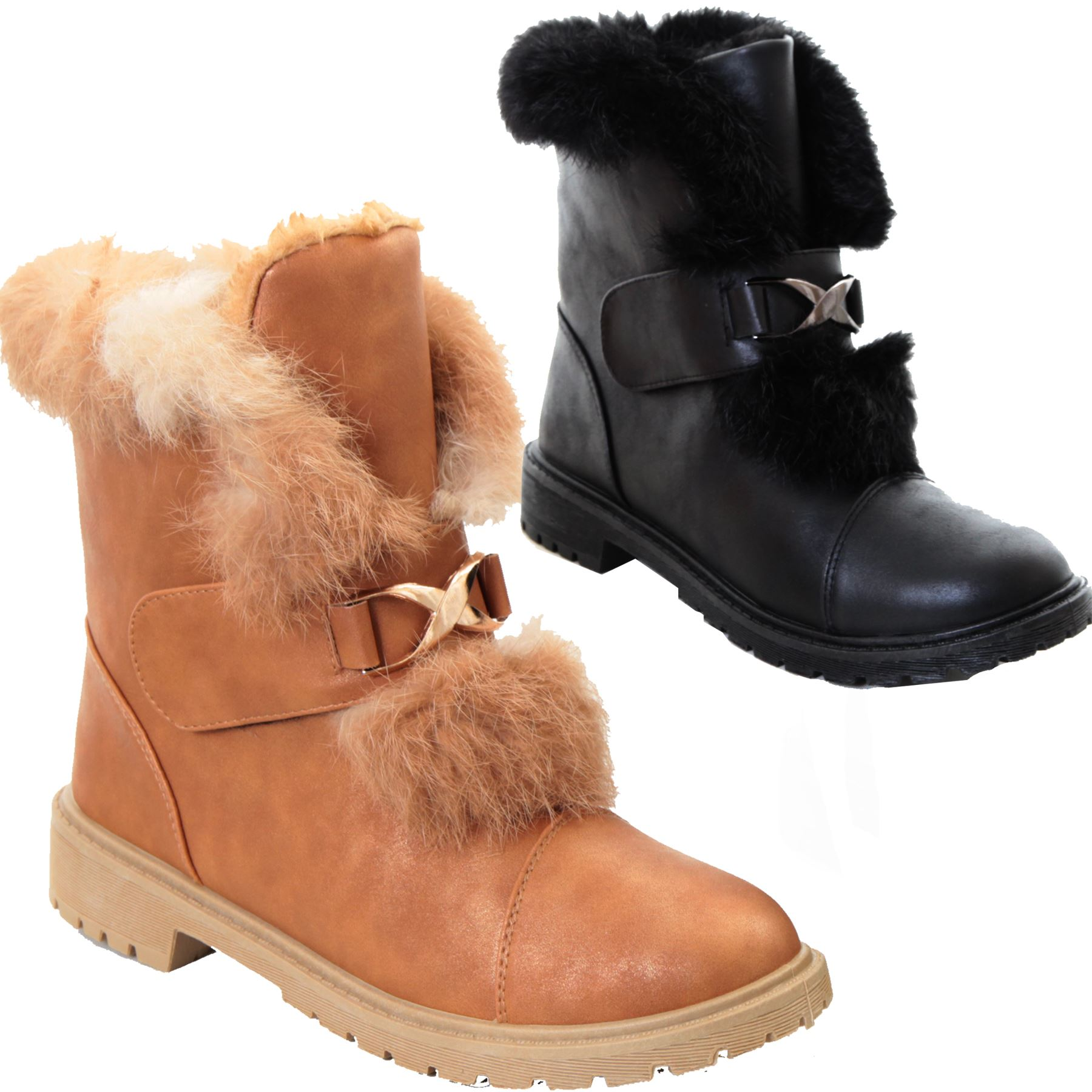 Womens PU Leather Faux Fur Lined Slip