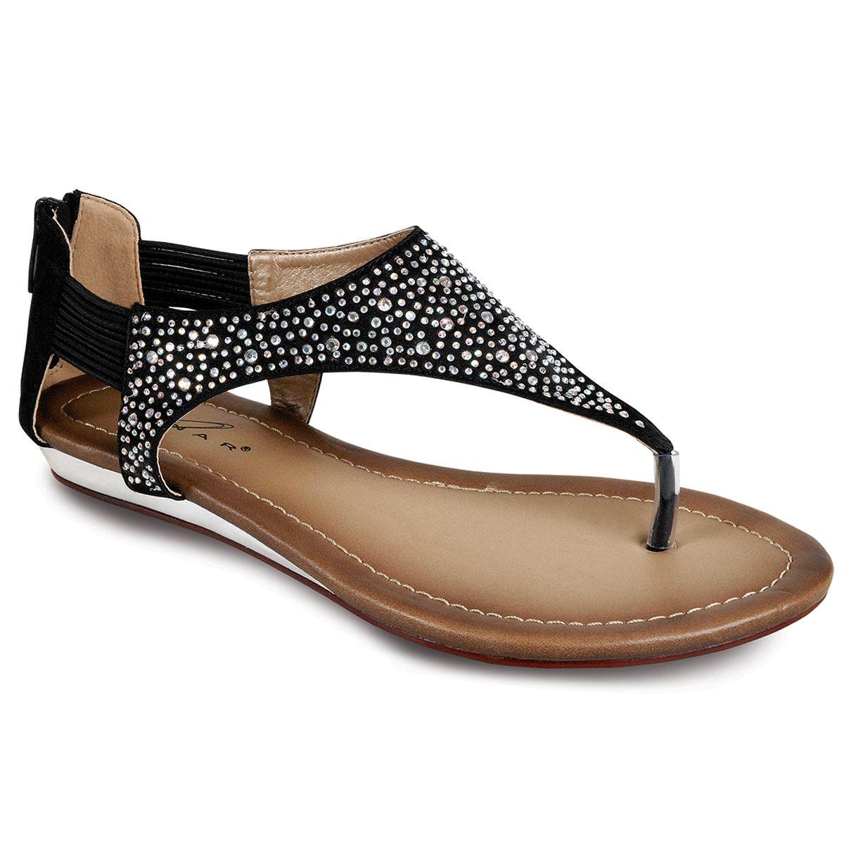 13b5a2876 Ladies Diamante Front Low Heel Zip Back Gladiator Fashion Thong Sandals  Shoes