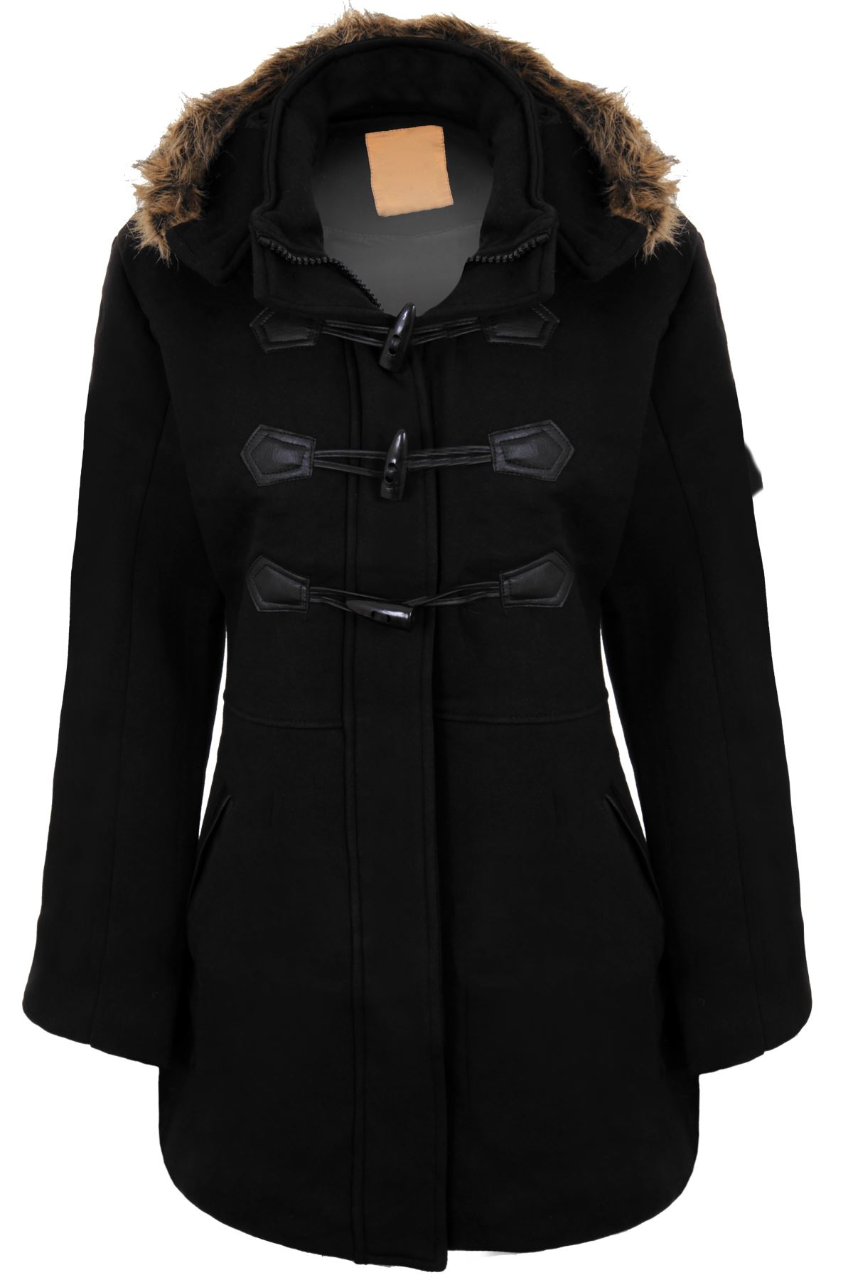 Womens Faux Fur Hooded Toggle Warm Lined Long Trench ...