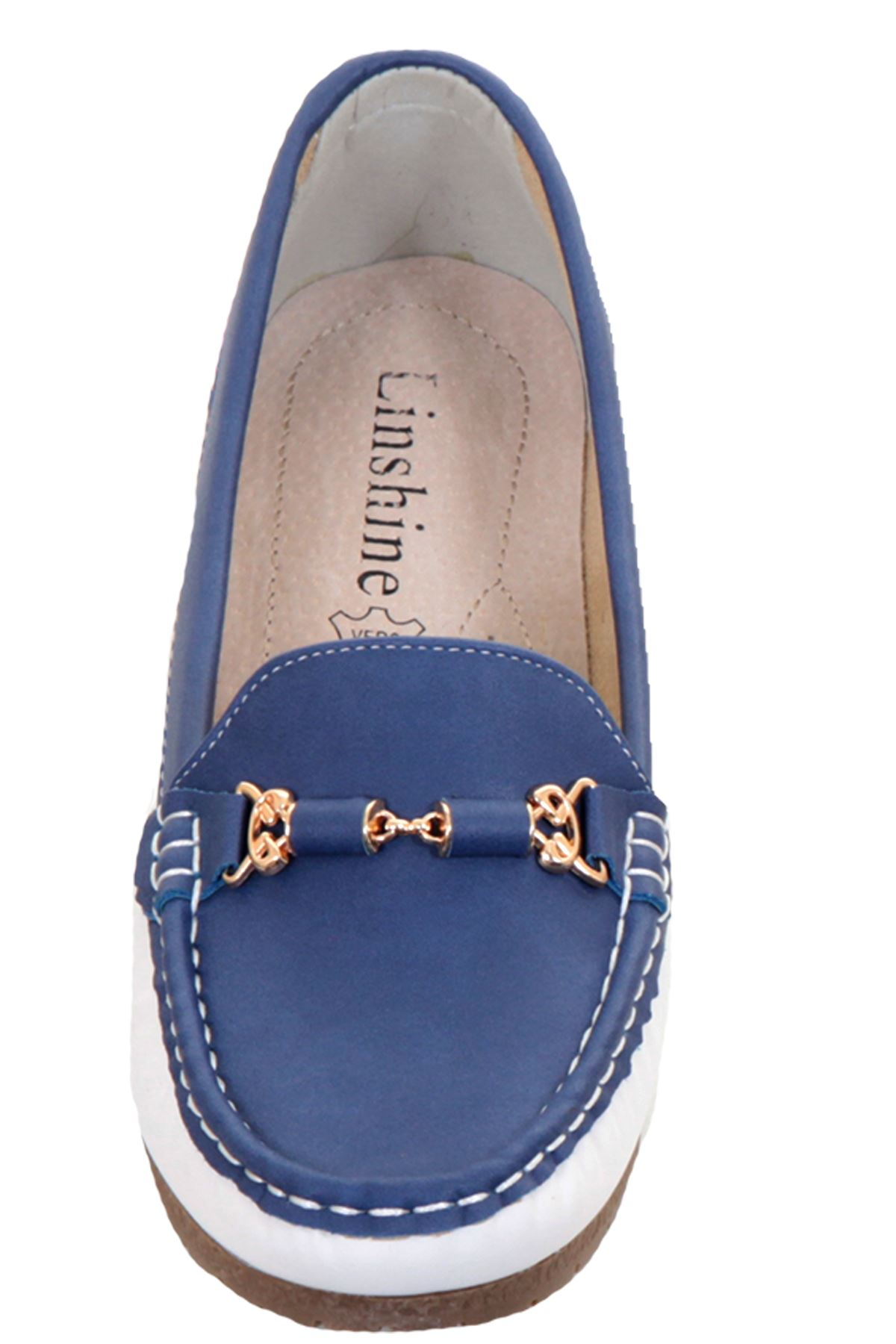 Ladies Contrast Colour Slip On Flat Gold Chain Moccasin Small Heel Loafer Shoes