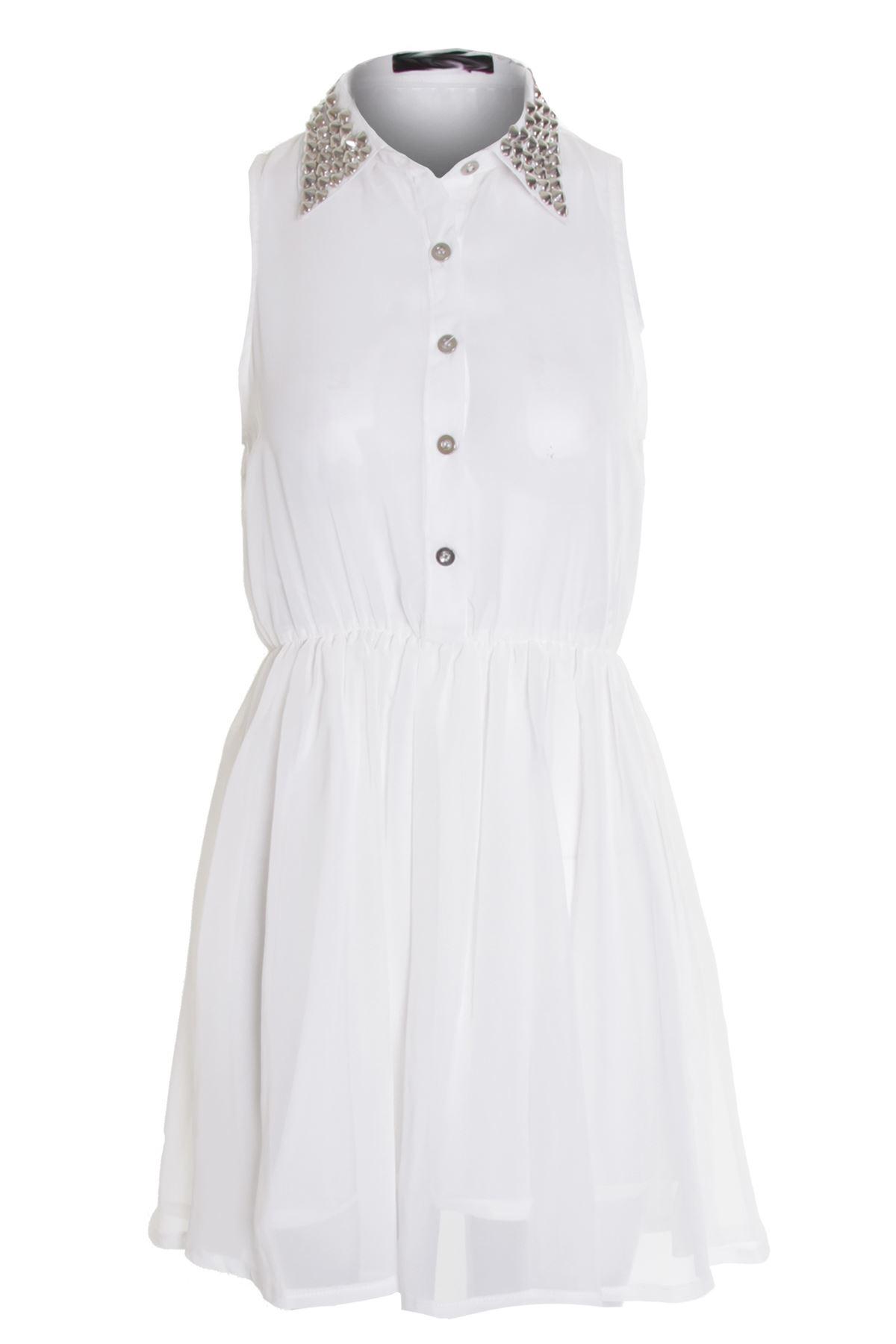0319fa445dade7 Women's Red White Black Collar Silver Studded Chiffon Ladies Blouse Shirt  Dress