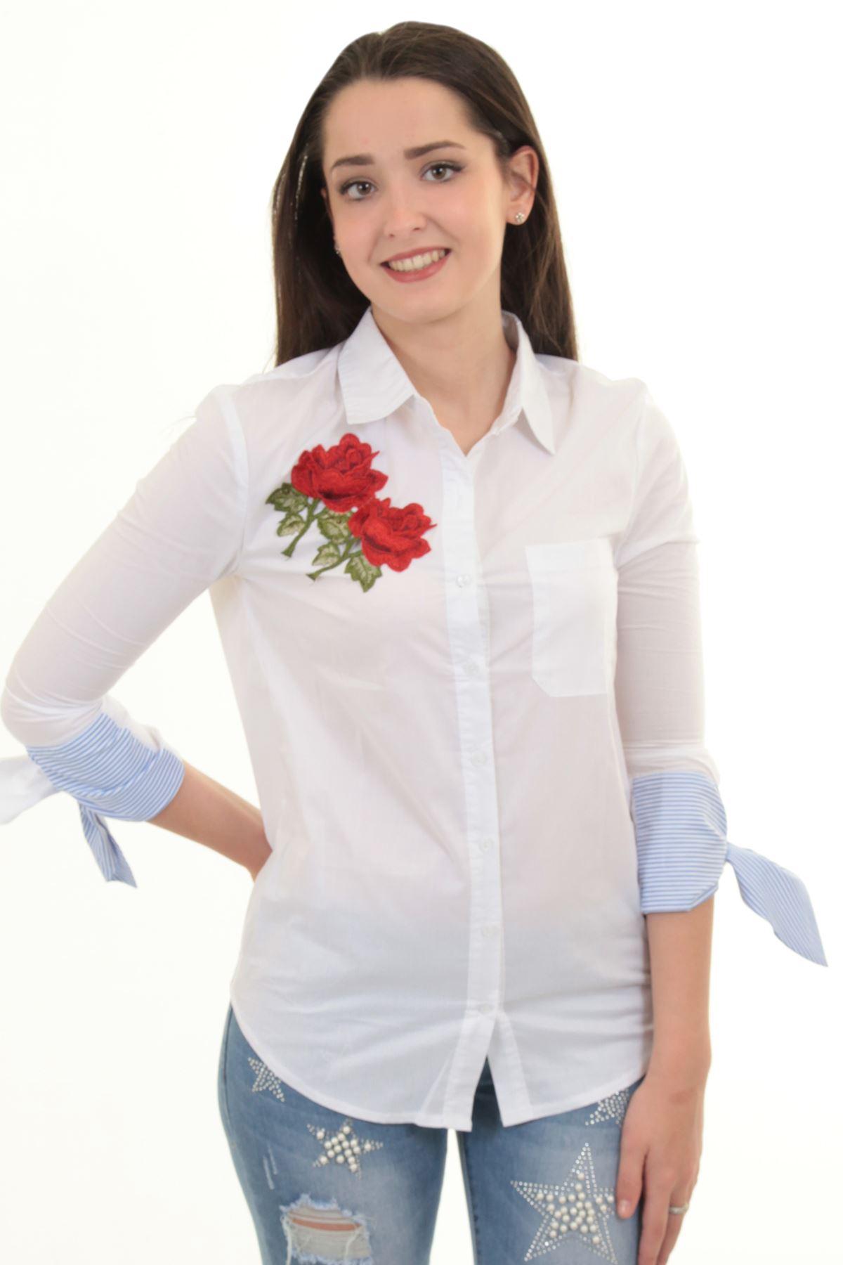 632b228048 Rosa Floral para mujer bordada 3/4 vuelta hasta nudo manga alta baja camisa  blusa