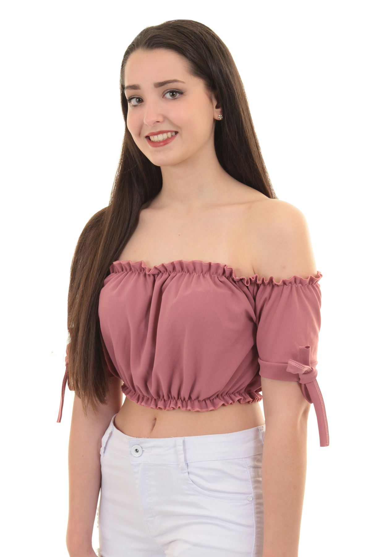 f30e8dda741dcd Womens Off Shoulder Bardot Knot Short Sleeve Frill Ruffle Plain Gypsy Crop  Top