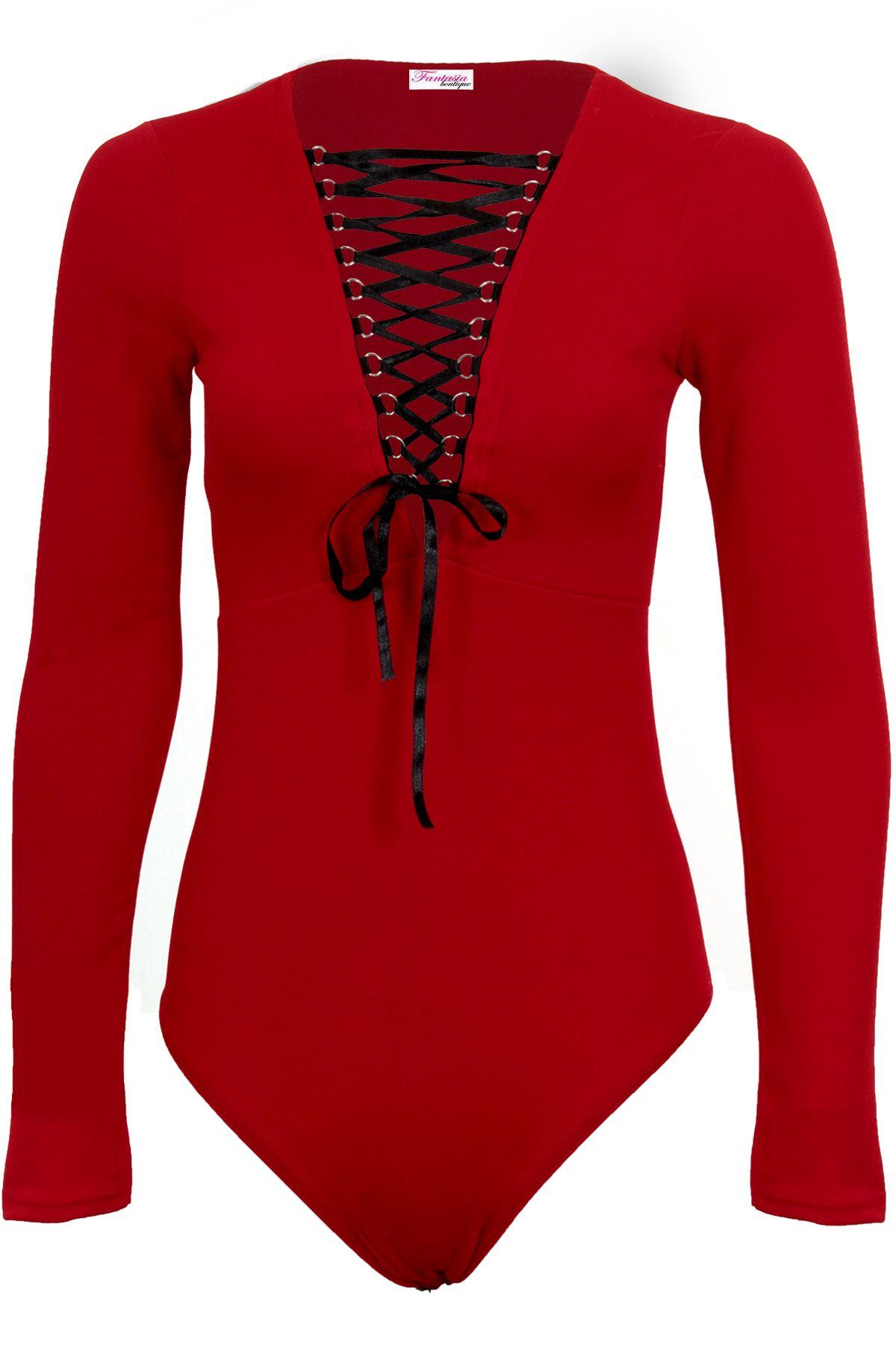 de56f5f6b8 Women s Adjustable Lace Up Front Long Sleeve Textured Plunge Leotard  Bodysuit
