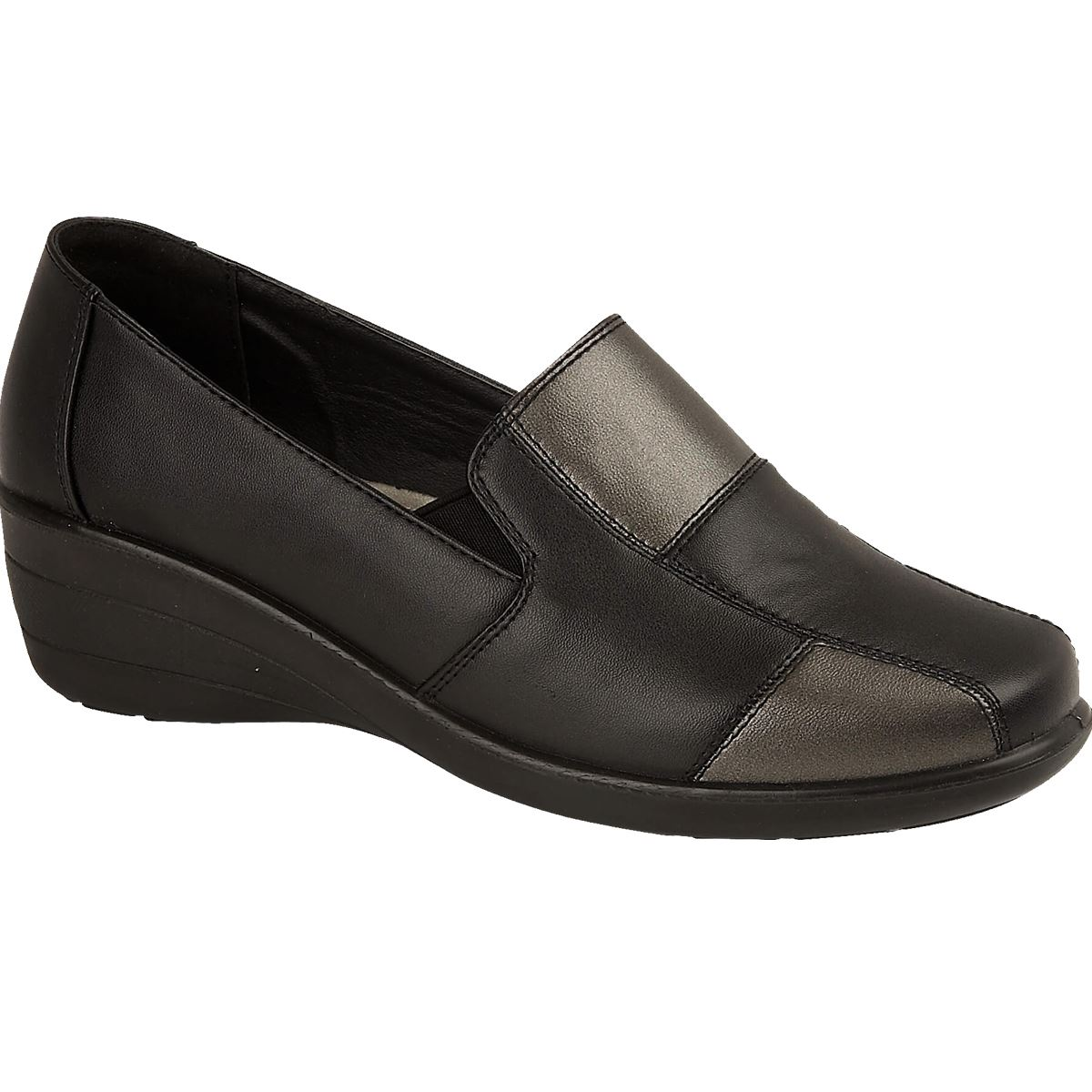 Dr Keller Sally 3 Womens Ladies Flat Black Smart Wedge Loafer For All Occasions
