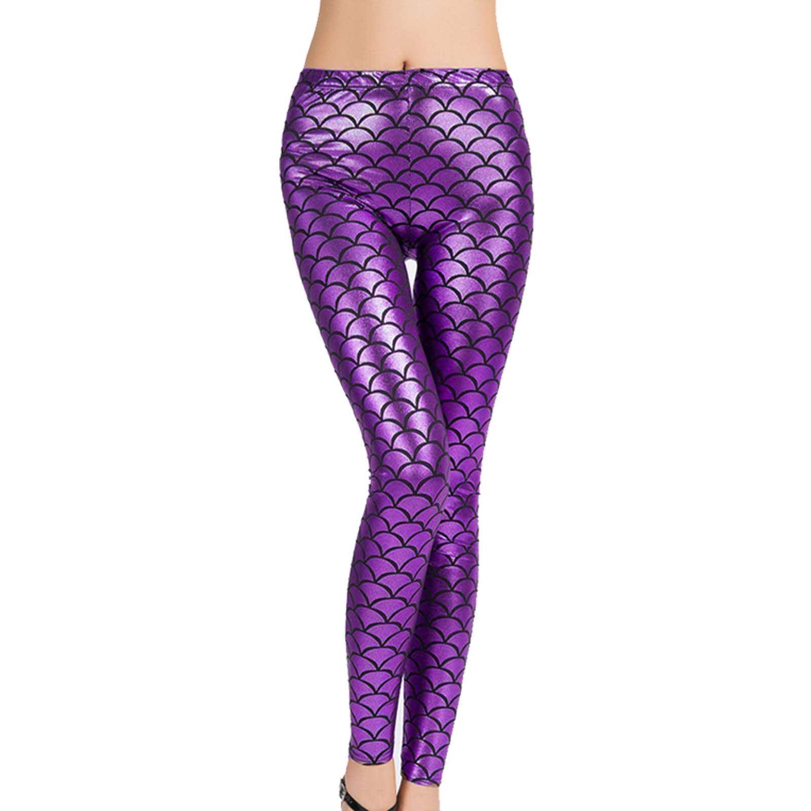 Femmes Poisson Échelle Sirène Métallique Brillant Stretch Legging Pantalon Disco