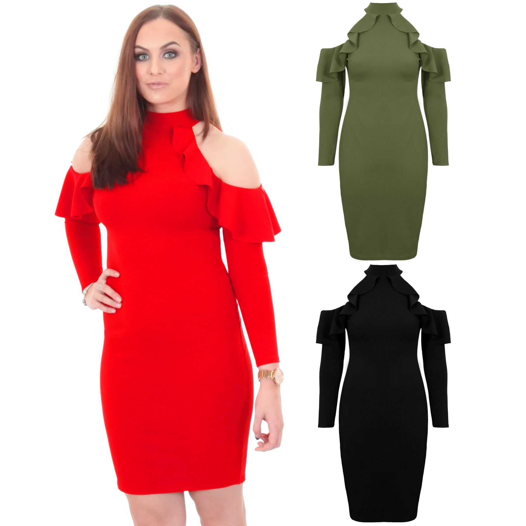 f72e596ad71e Details about Ladies 3 4 Sleeve Ruffle Frill Bardot Off Shoulder Turtle Neck  Bodycon Dress