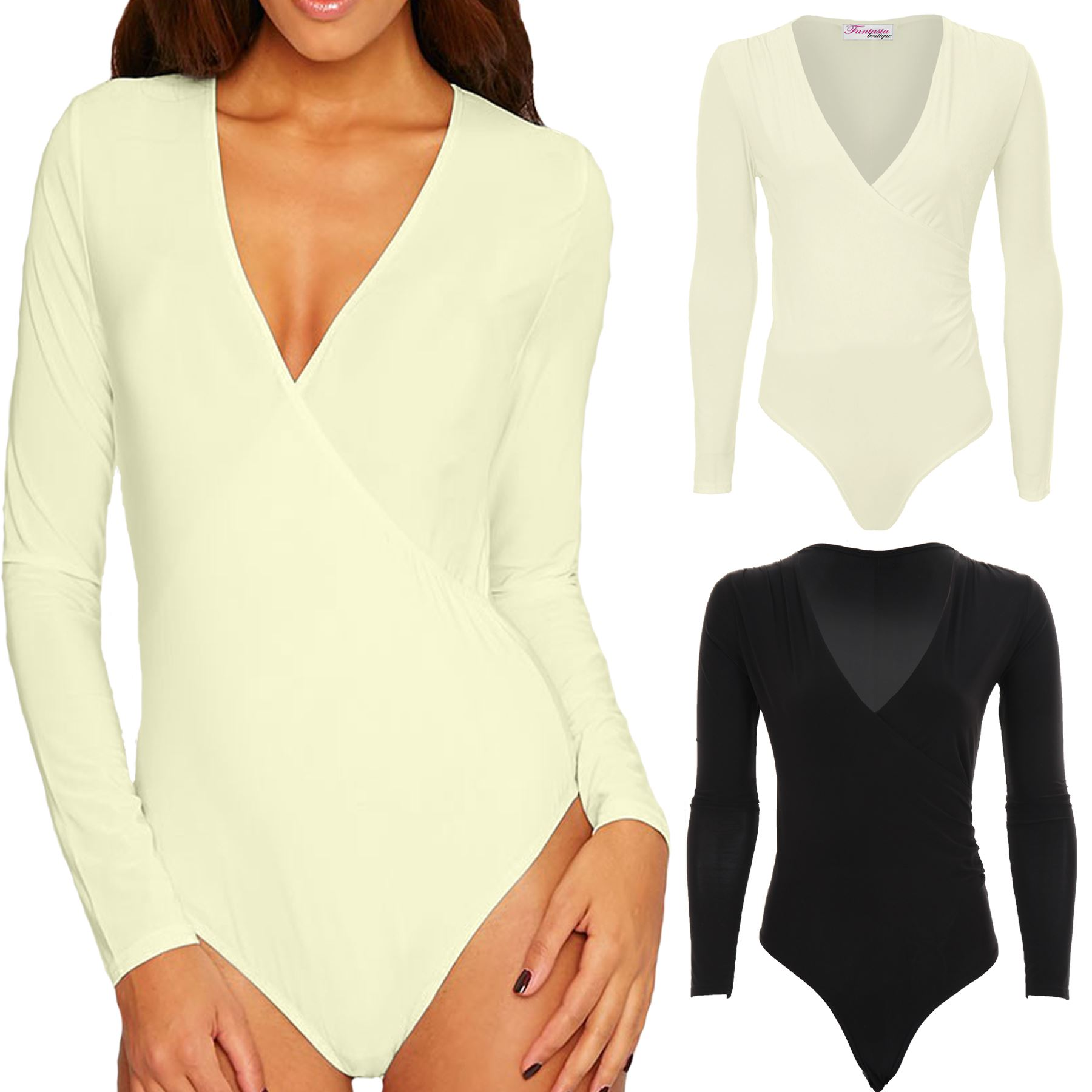 986d31bcdc Details about Womens V Neck Plunge Long Sleeve Basic Soft Slinky Wrap Bodysuit  Leotard