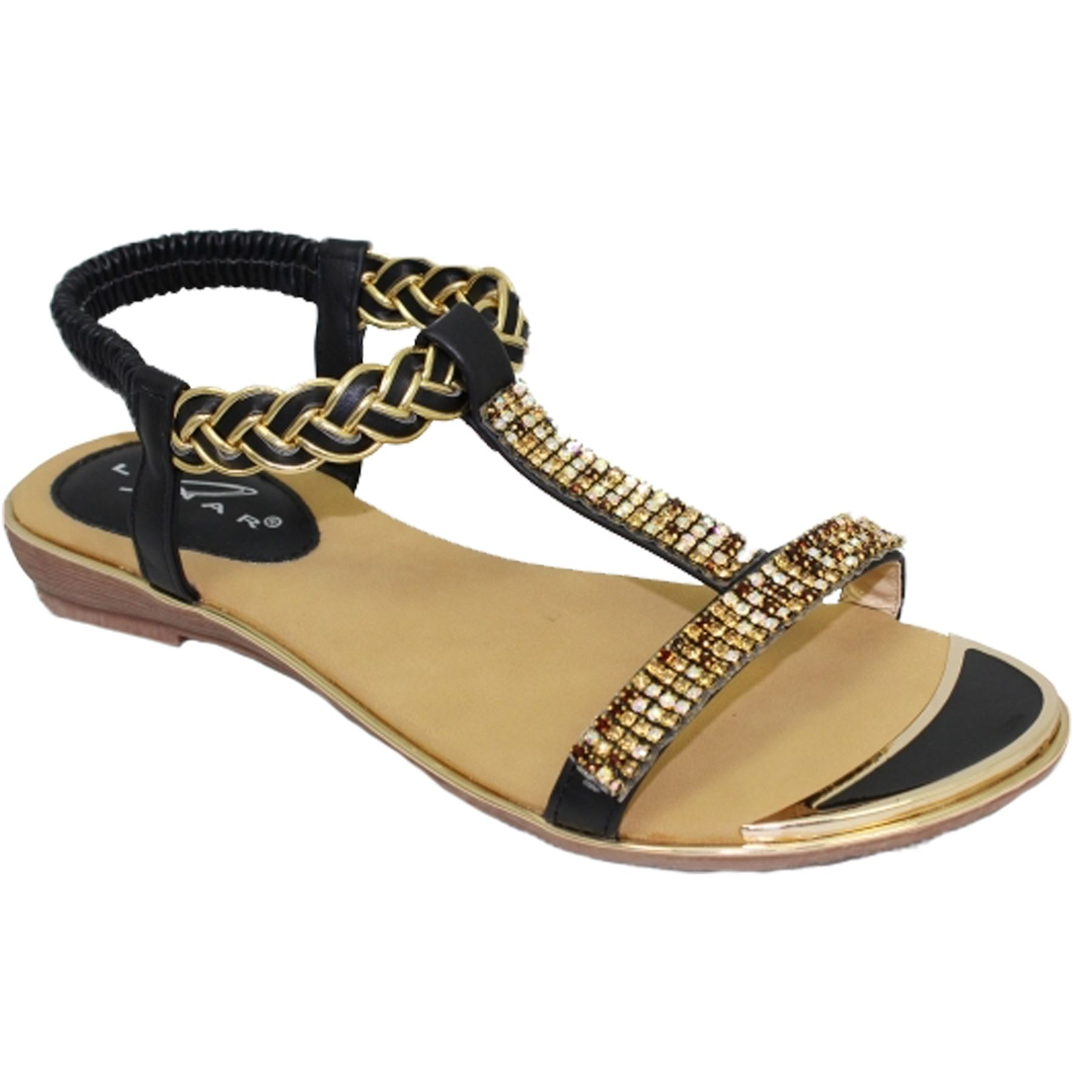 Jlh913 Comet Padded Insole Slip On Gold Plate T Bar Gemstone Sandals Tendencies Footbed 2 Strap Brown 41