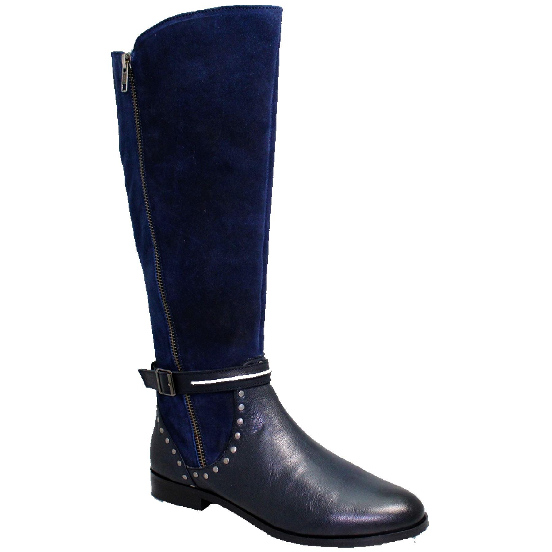 GLH528 Andros Side Side Side Zip Real Leder Padded Insole Niedrig Heel Stud Long Stiefel 8cbb21
