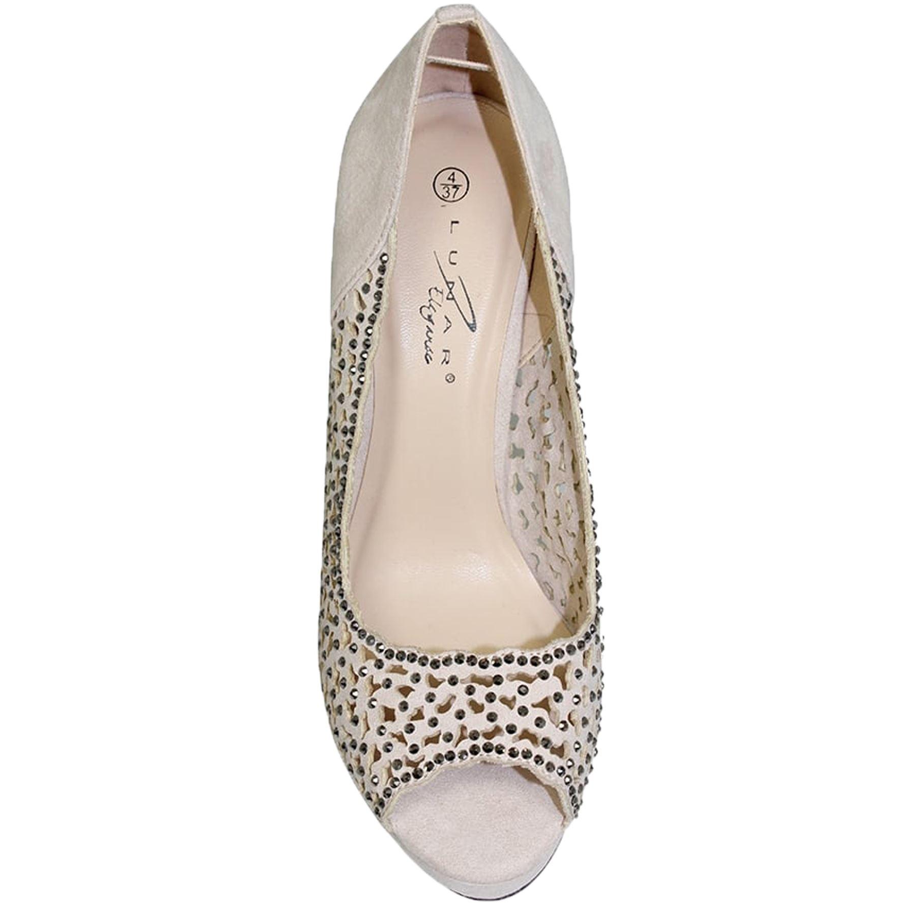 FLR445 Margo Diamante Glamorous Court Peep Toe Heels Clutch Clasp Bag