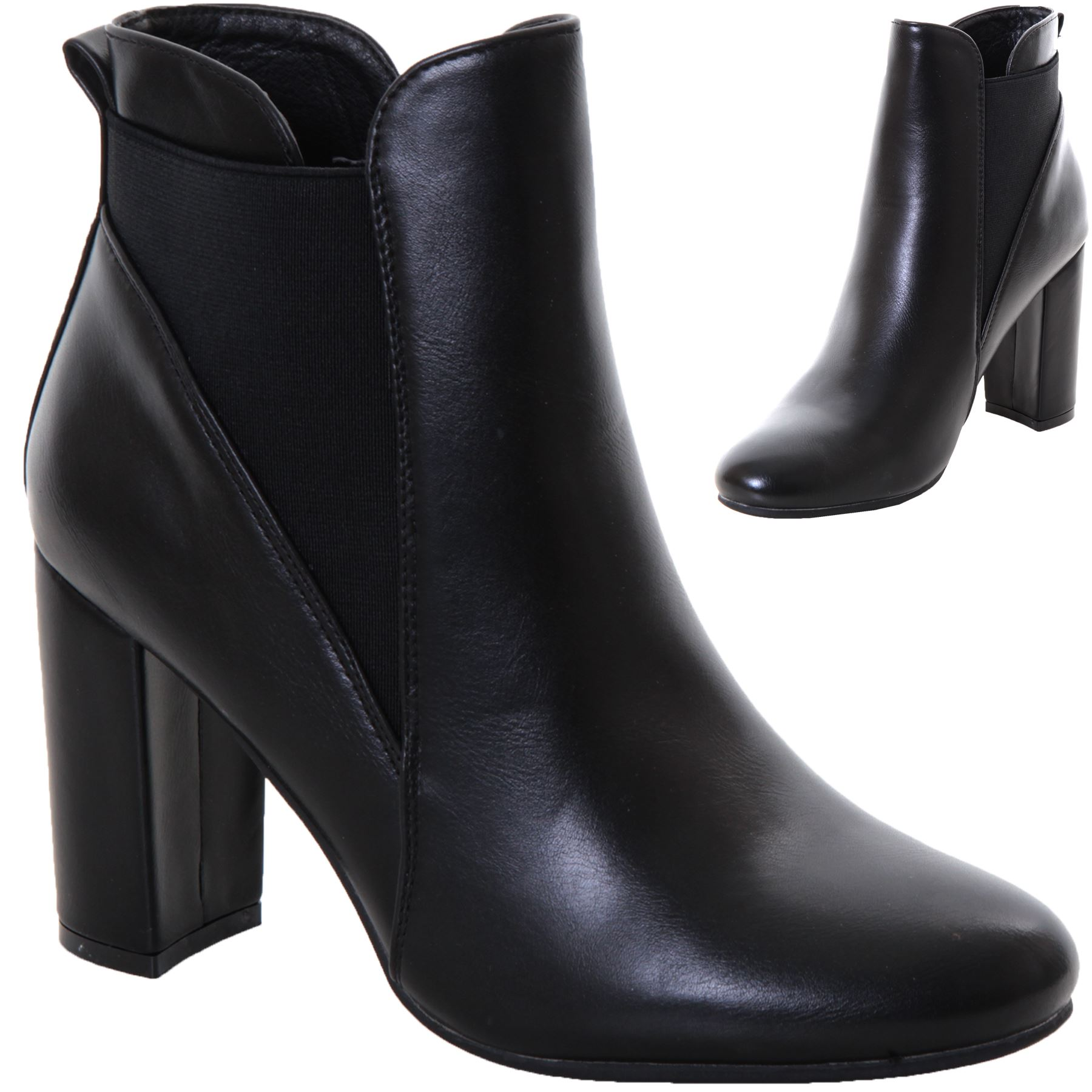 2b6f5895fb309 Details about Ladies Chunky Block High Mid Heel Faux Leather Chelsea Slip  On Ankle Boots