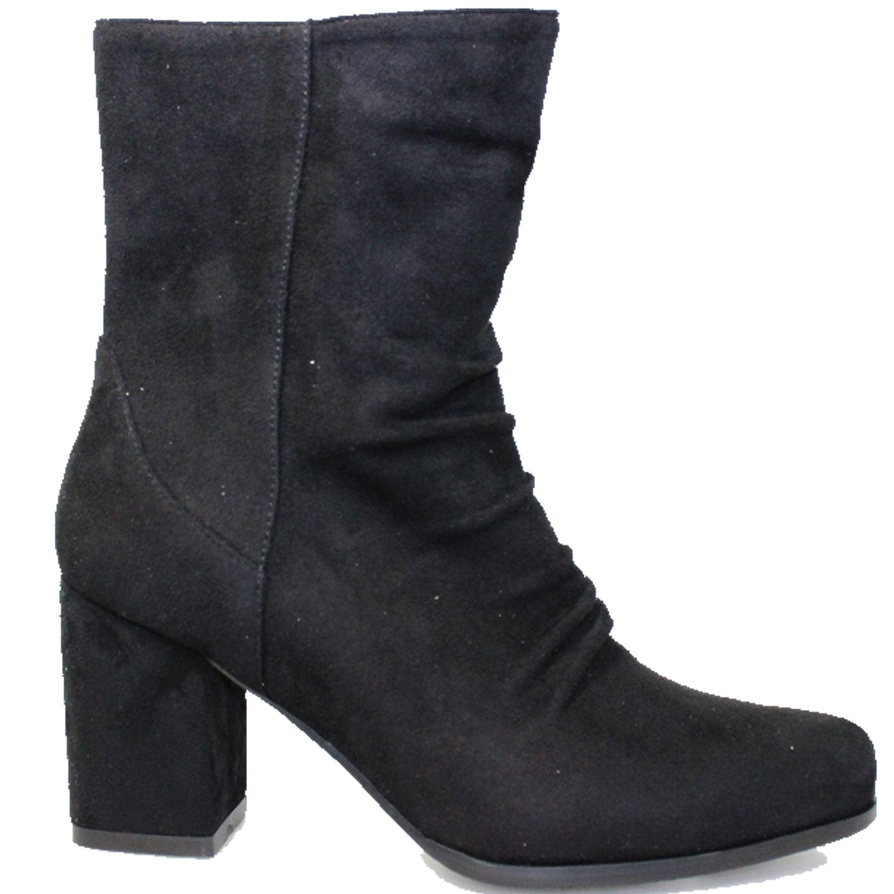GLC673 Karla  Faux Suede  Karla Zipper Lined Padded Insole Block Heel Ankle Boots 1f3023